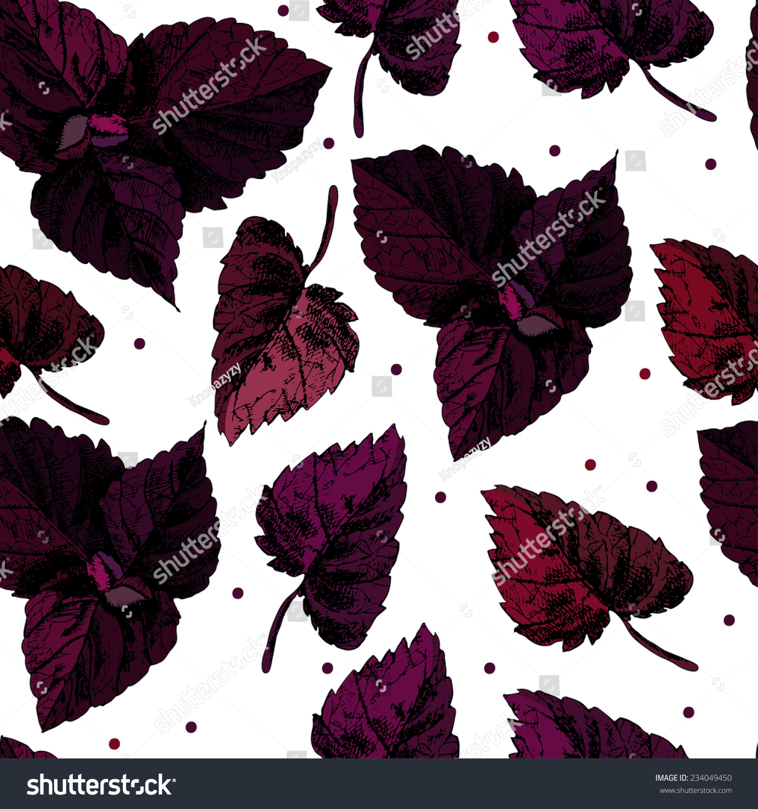pattern basil leaves template can be stock vector royalty free