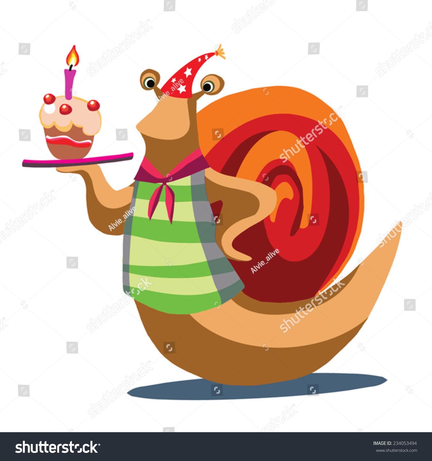 Birthday Greeting Illustration Cute Snail Party Stock Vector