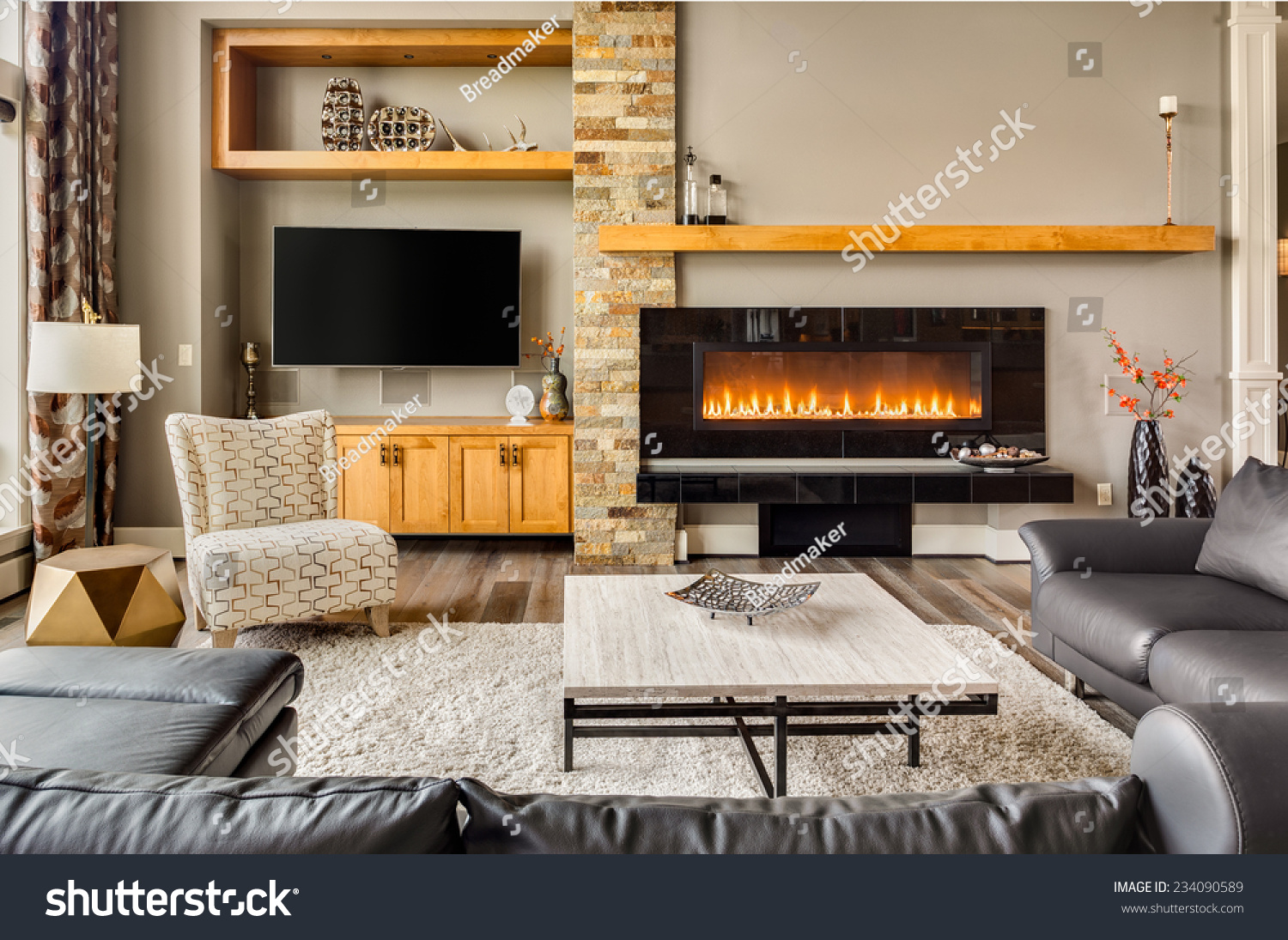 Furnished living room luxury home roaring stock photo for Furnished room