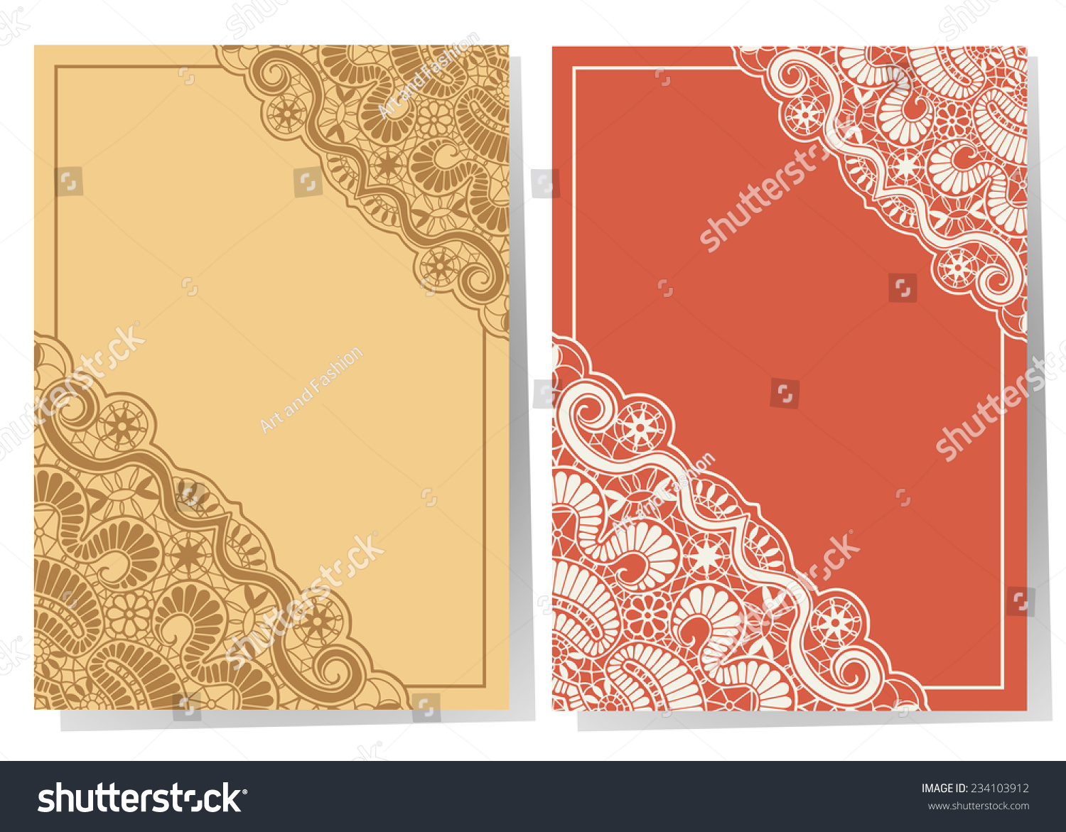 Wedding Invitation Cards Set Lace Pattern Stock Vector 234103912 ...