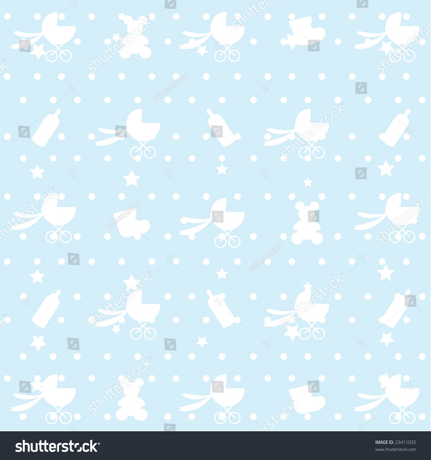 Seamless Pattern Baby Items Wallpaper Decoration Stock Vector