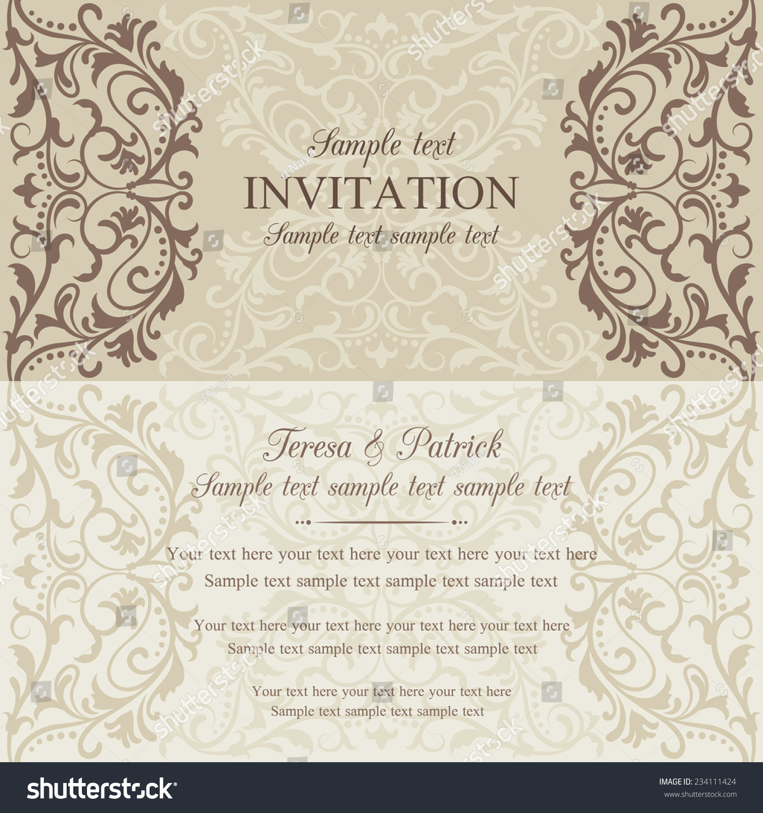 Antique Baroque Invitation Card Oldfashioned Style Stock Vector ...