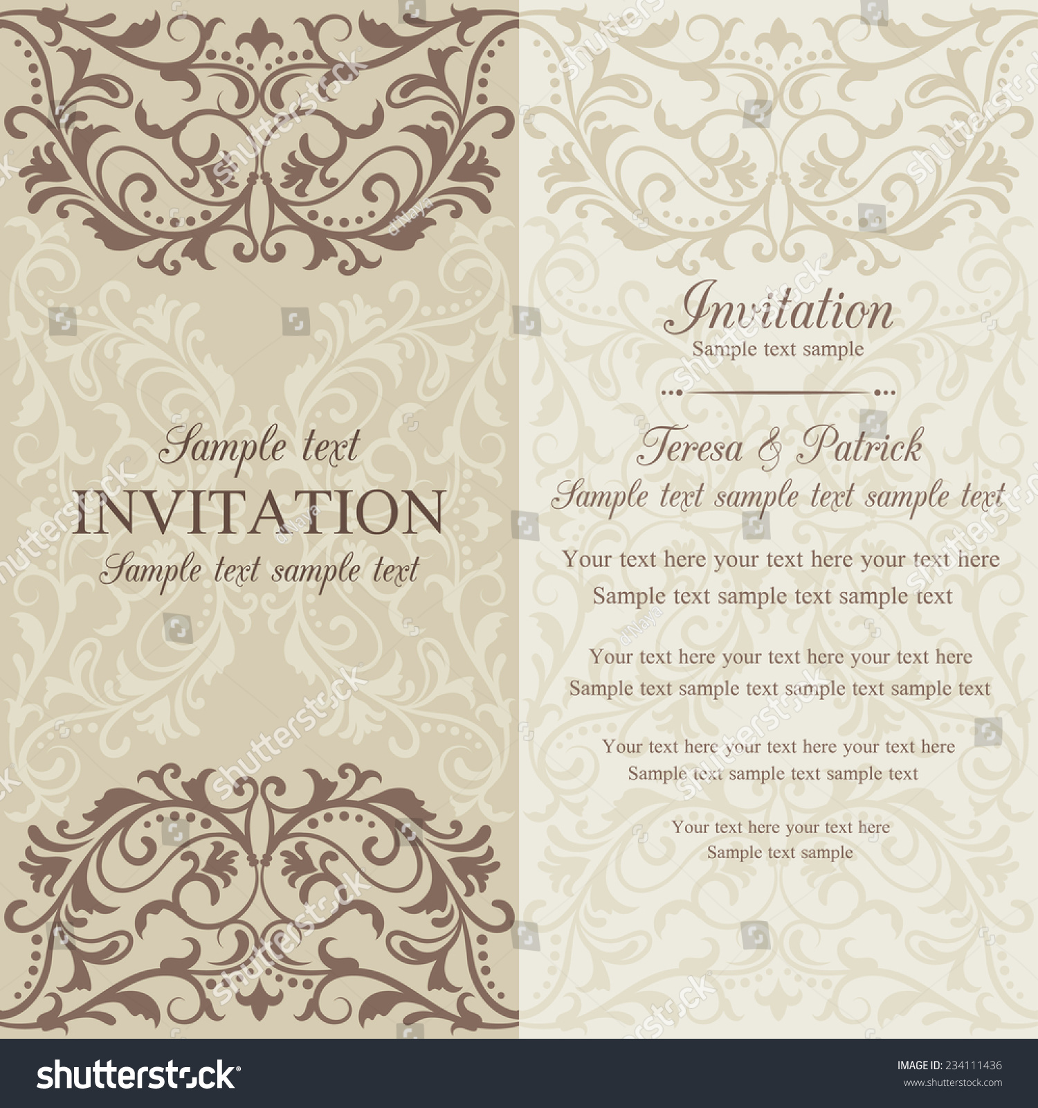 Wedding invitation cards baroque style brown and beige. Vintage ...