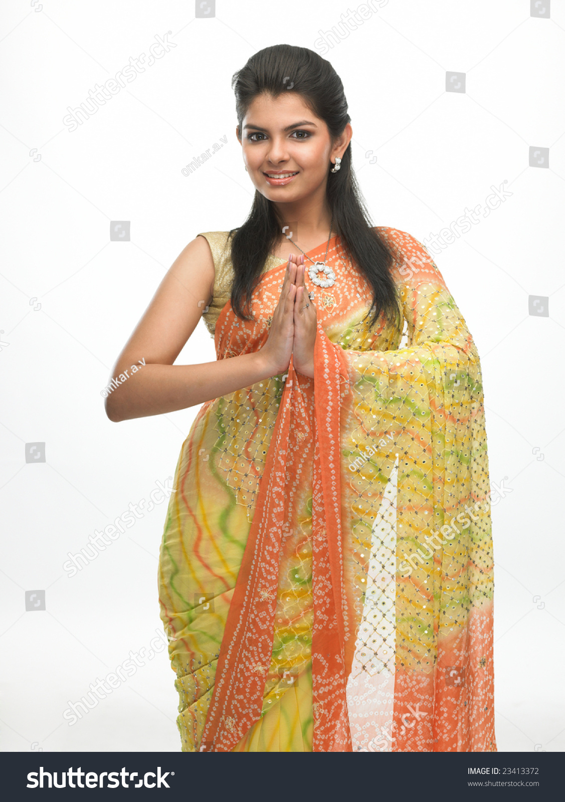 Indian Woman Tradition Sari Welcome Expression Stock Photo 23413372 - Shutterstock