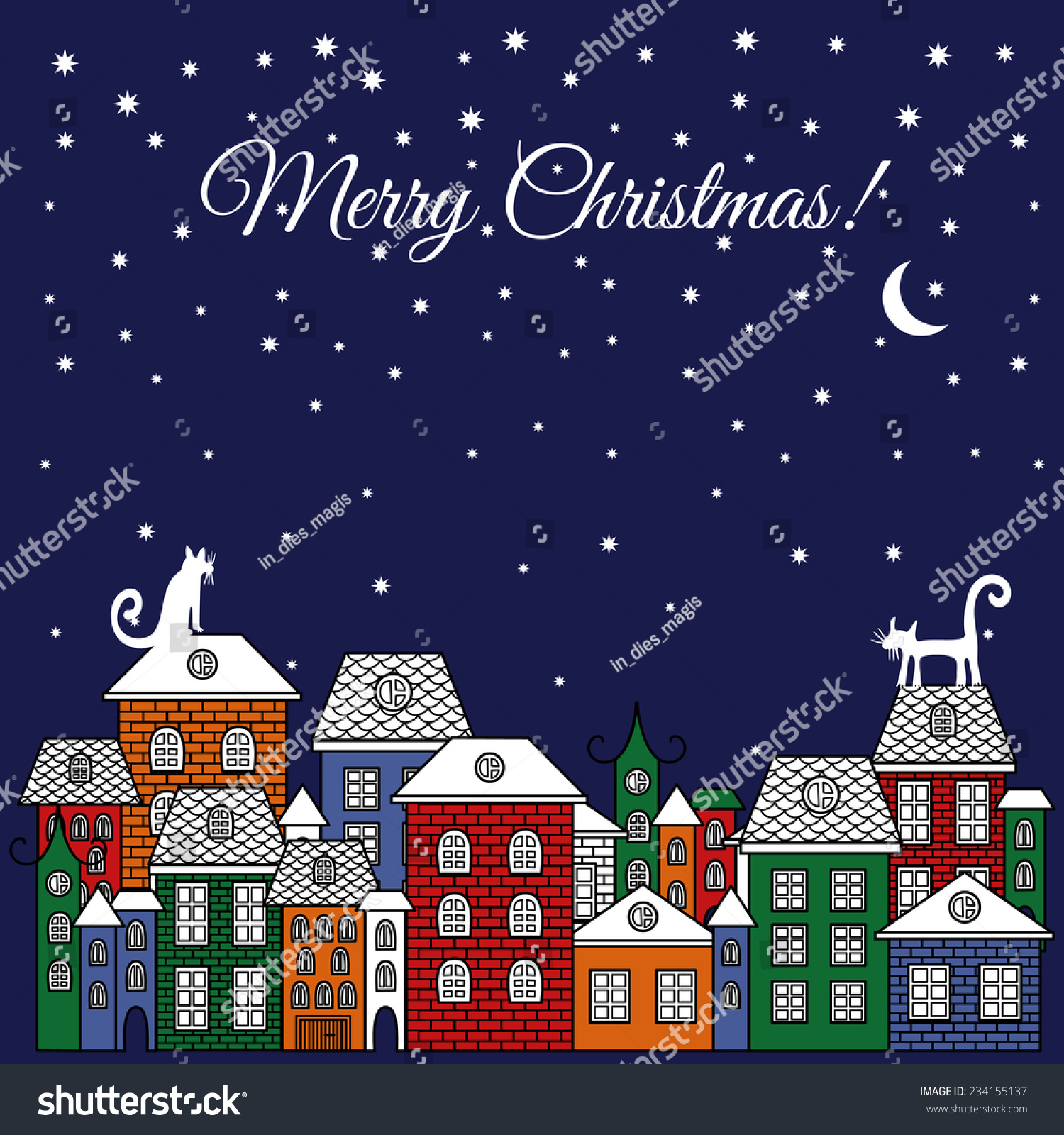 Christmas Vector Illustration Poster Cats Houses Stock Vector 2018