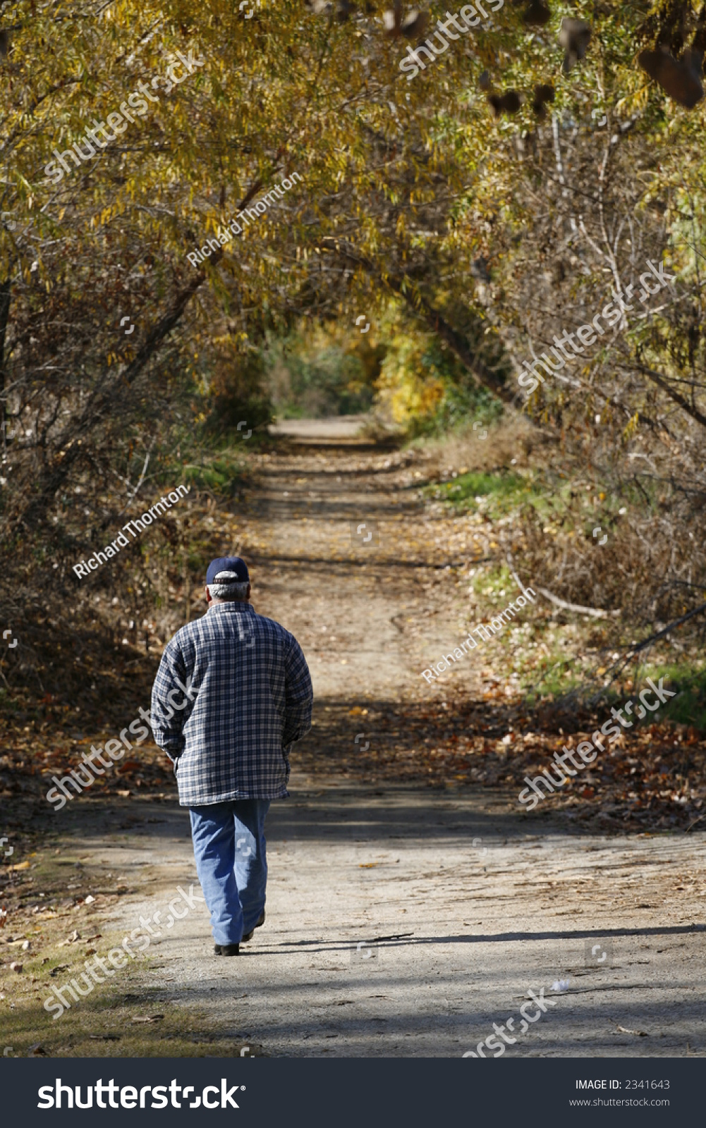 Man Walking Down Dirt Path Surrounded Stock Photo 2341643