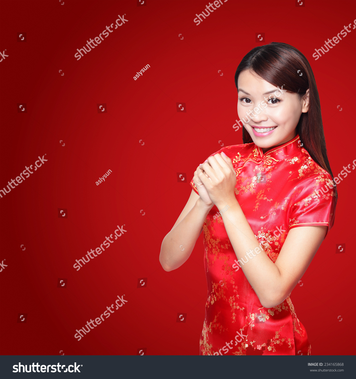 happy chinese new year asian woman with gesture of isolated on red background