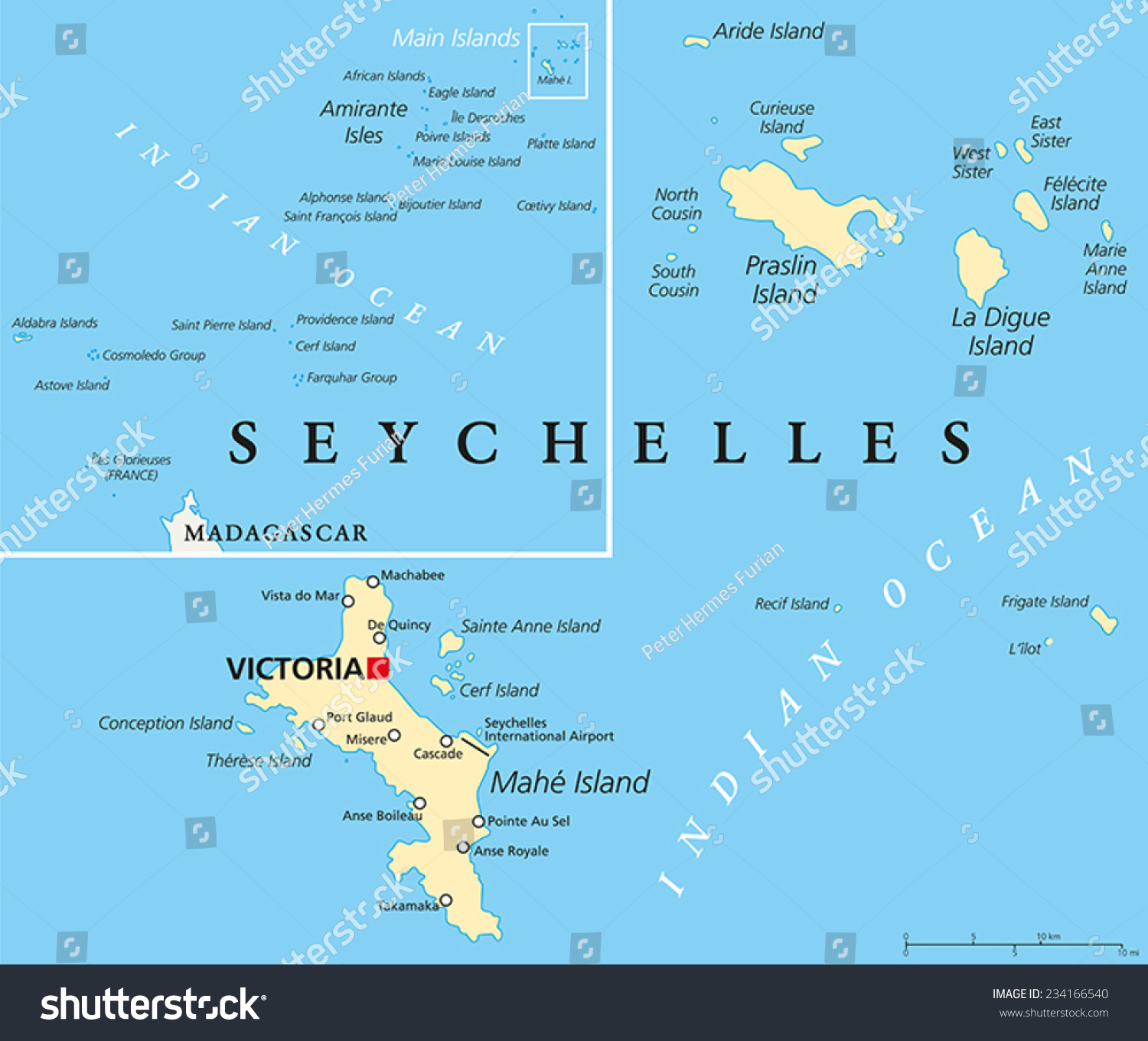 Seychelles Political Map Capital Victoria Important Stock Vector - Map of seychelles world