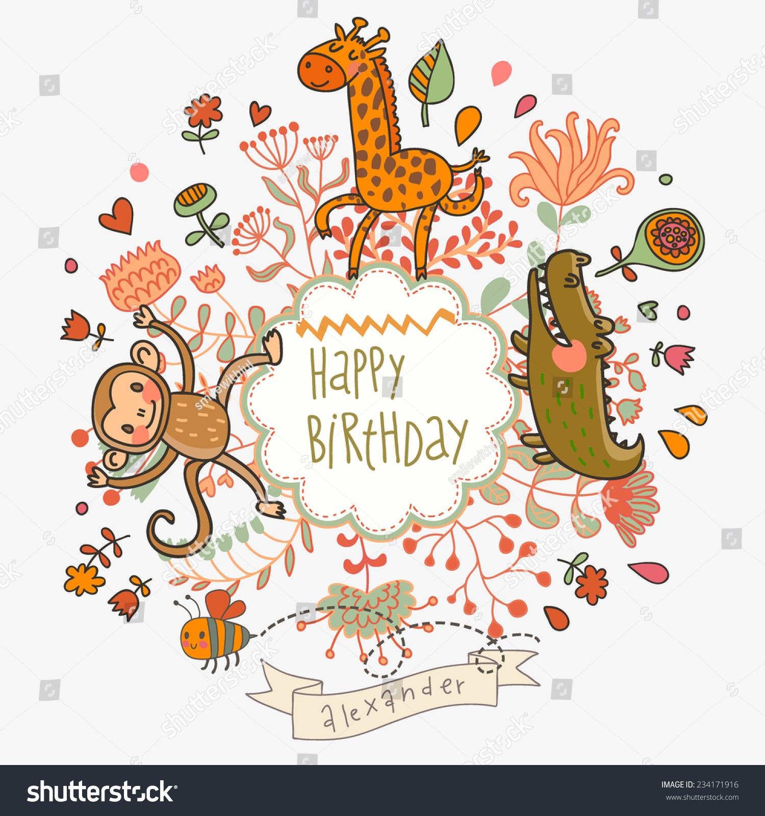 Cute Childish Card Crocodile Monkey Giraffe Stock Vector (Royalty ...