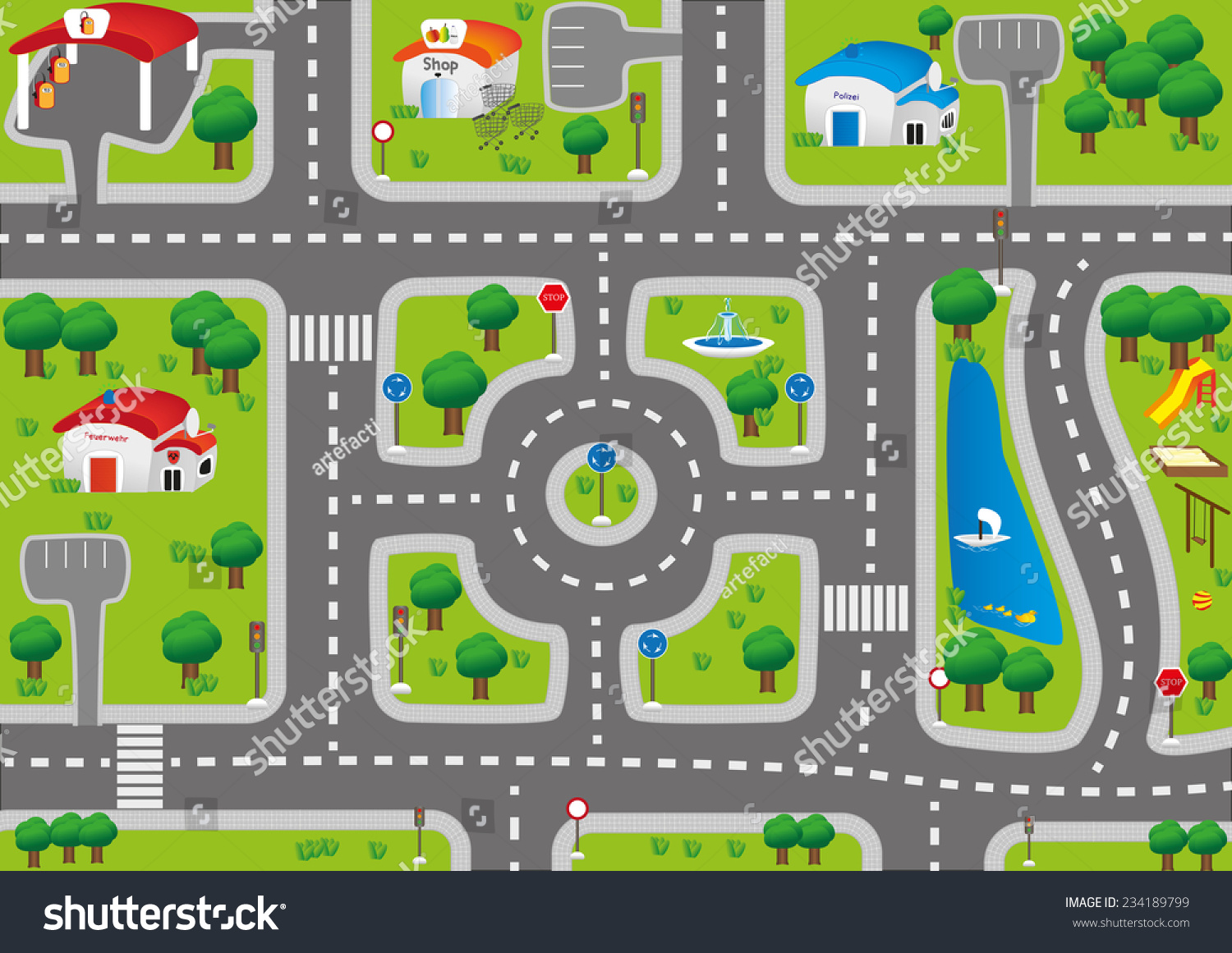 Play Mat Car Carpet Kids Stock Vector 234189799 Shutterstock