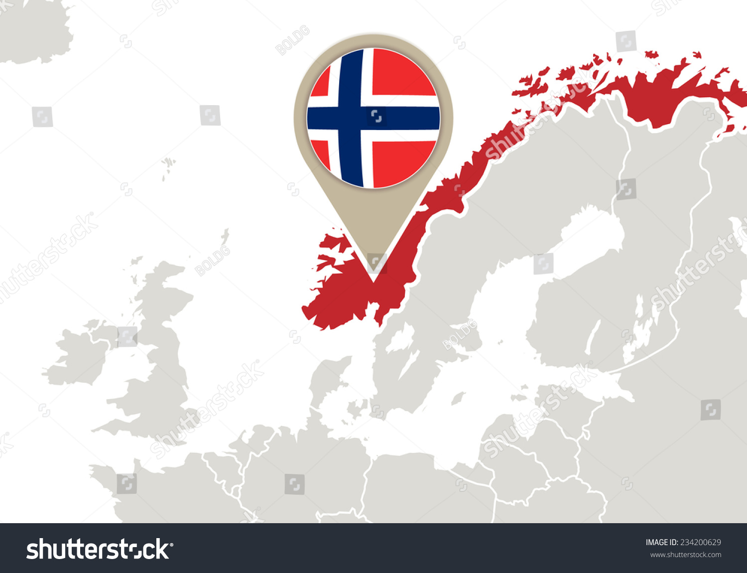 Europe Highlighted Norway Map Flag Stock Vector - Norway map and flag