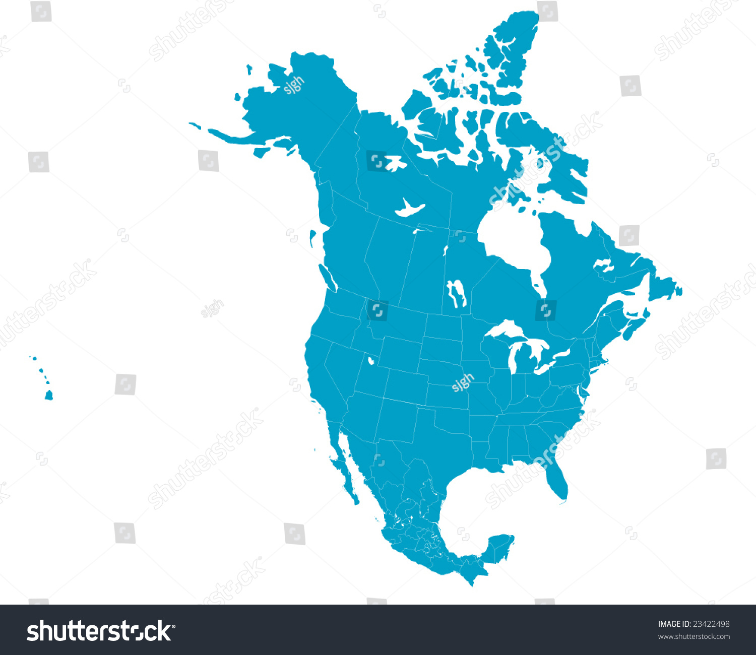 North America Map Including Us Mexico Stock Vector - Us and mexico map