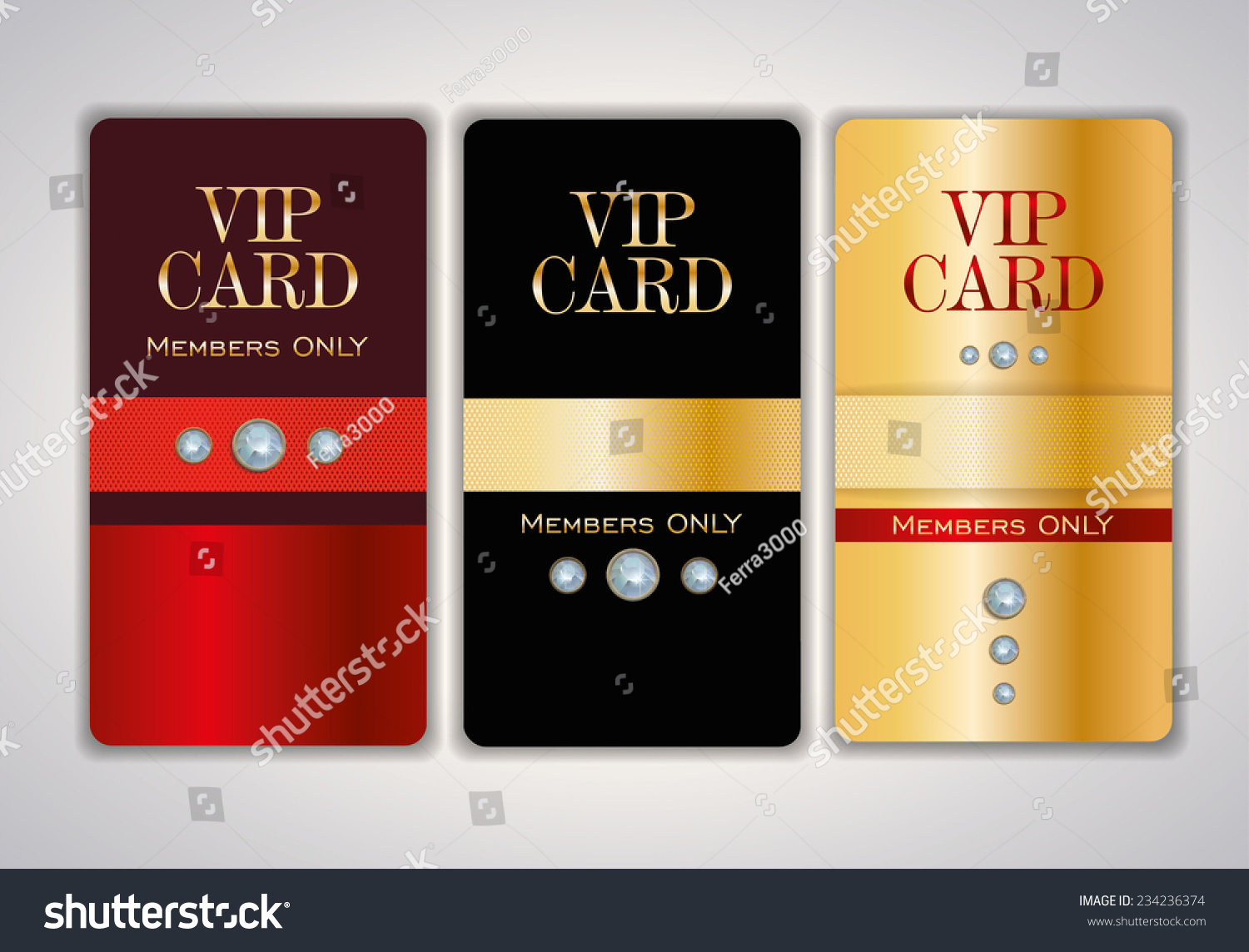 Vip Club Card Design Templates Crystals Stock Vector 234236374