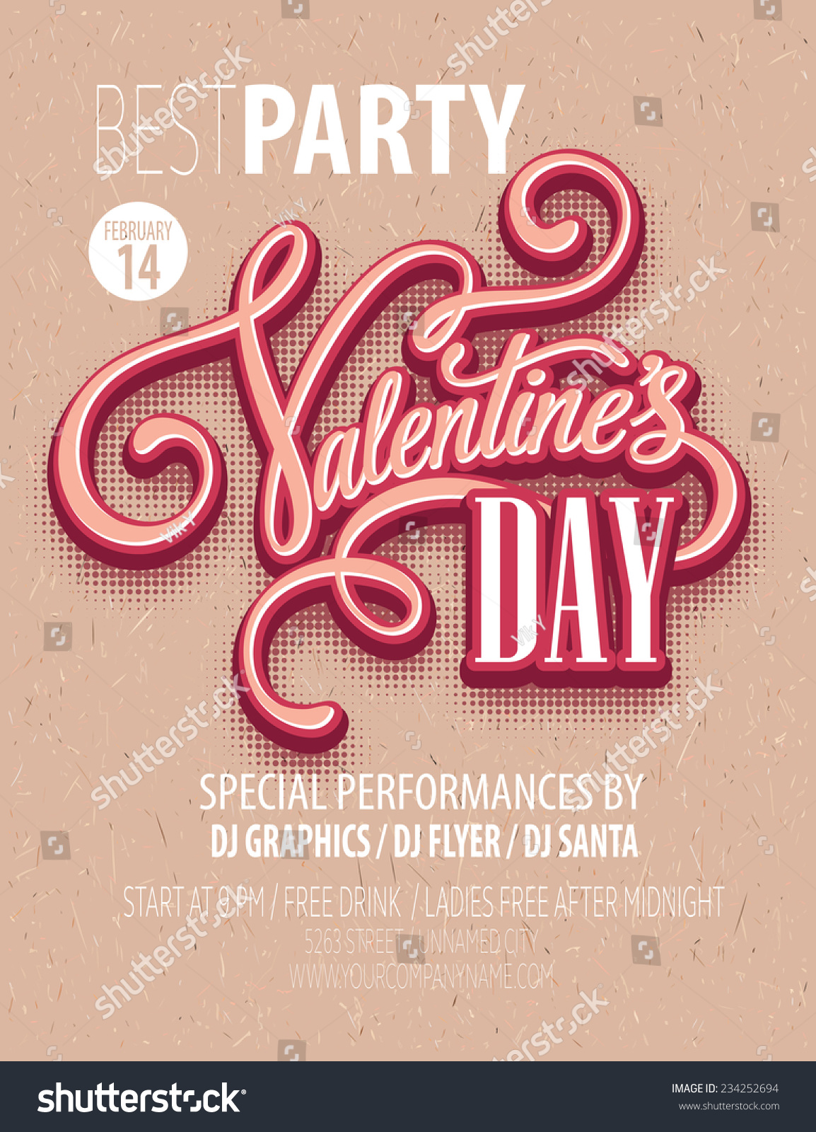 poster valentines day party vector illustration stock