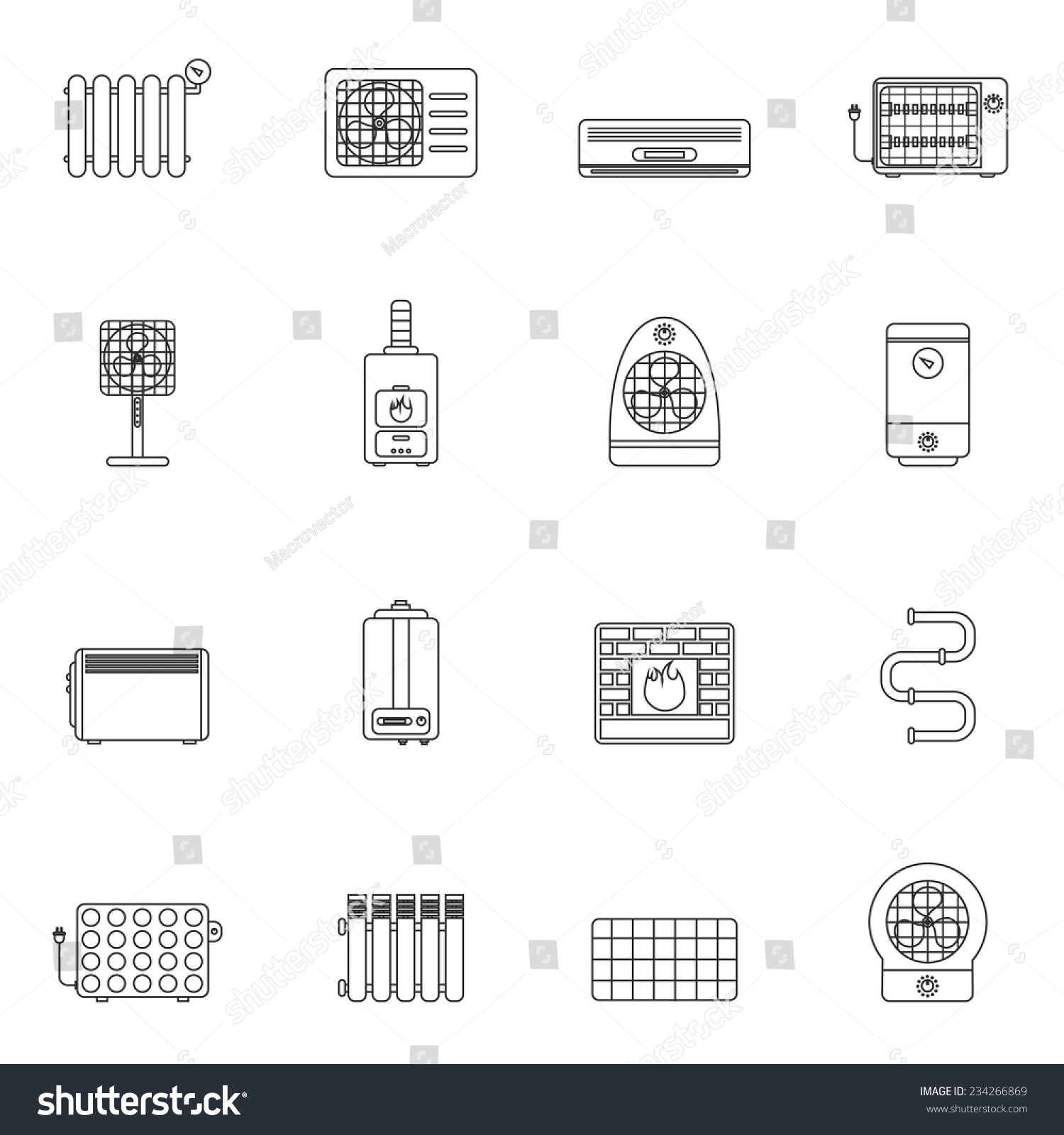 Heating Cooling System Air Conditioning Equipment Stock Vector