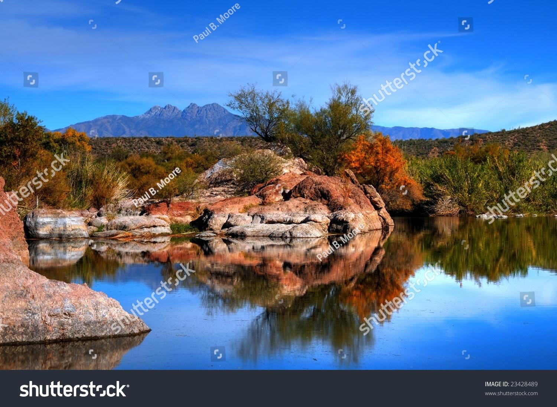 Arizona Desert Pond Rocks And Mountains Stock Photo 23428489 Shutterstock