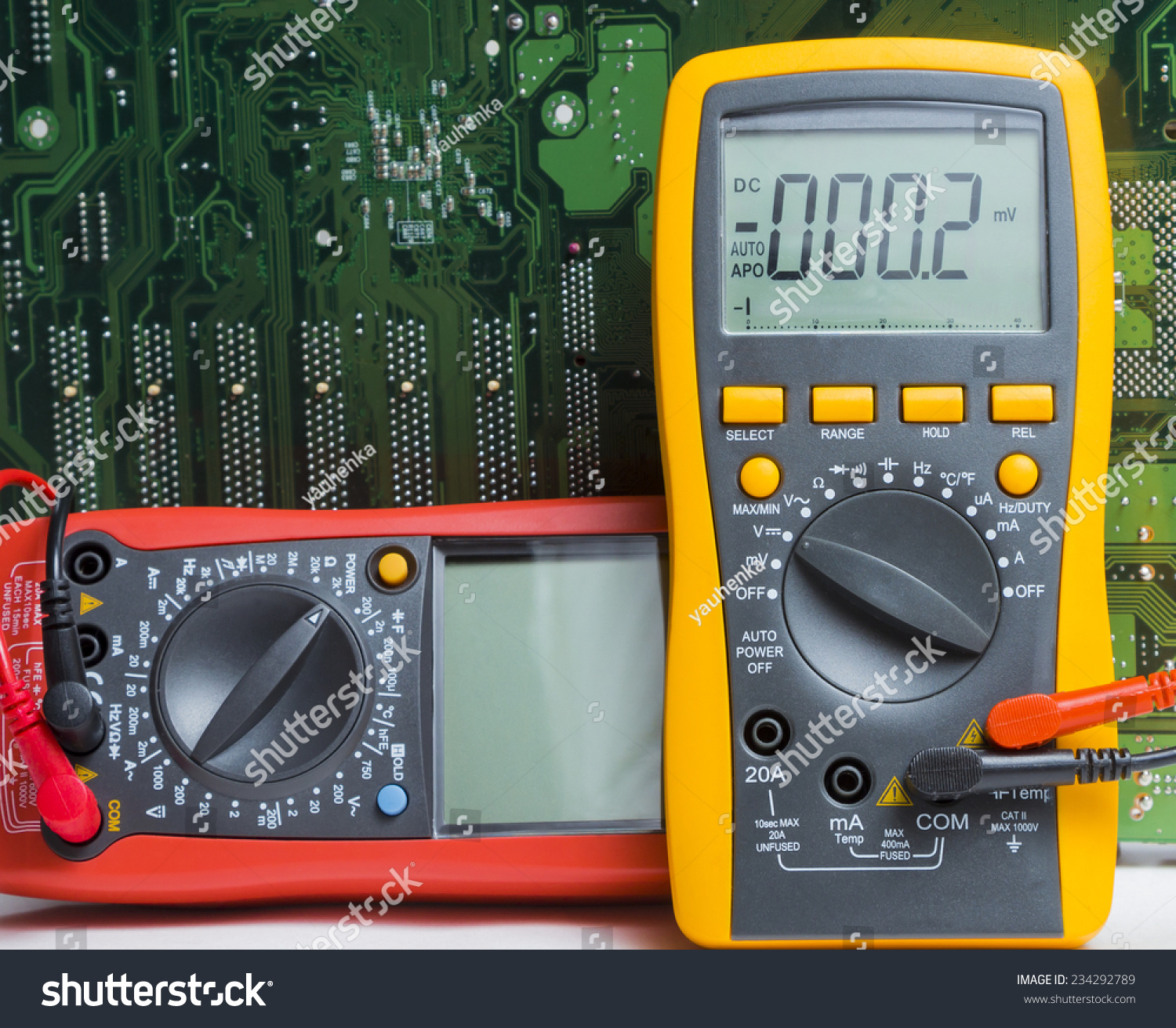 Multimeter Instrument Measuring Voltage Red Yellow Stock Photo Edit Electronic Multimeters For And Repair Equipment Shot On