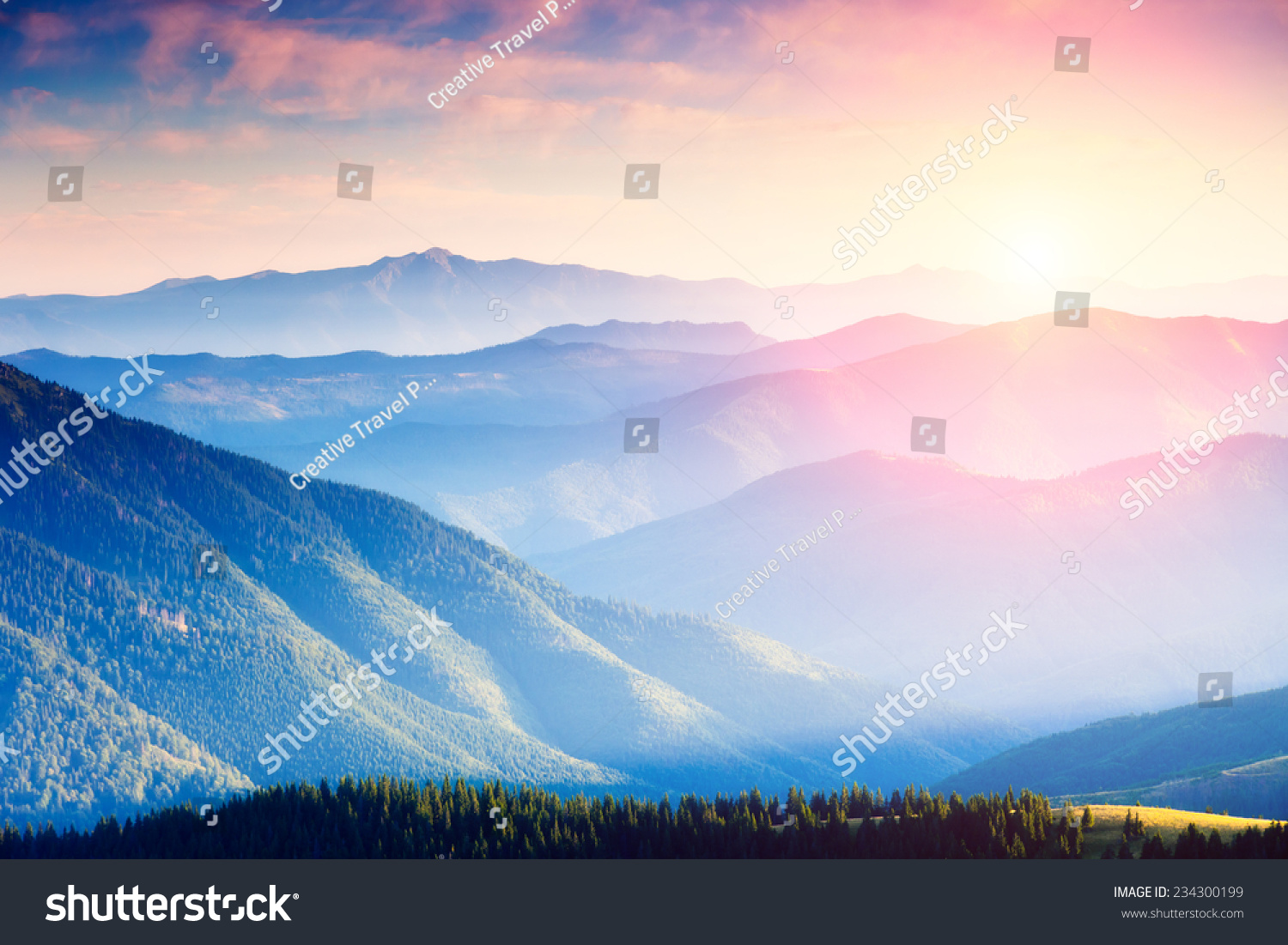 Majestic panorama of green mountains with sunny beams. Dramatic scene. National Park, Carpathian, Ukraine, Europe. Beauty world. #234300199
