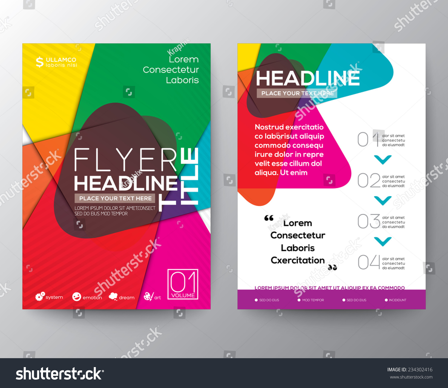 colorful brochure design - abstract colorful brochure flyer design layout stock
