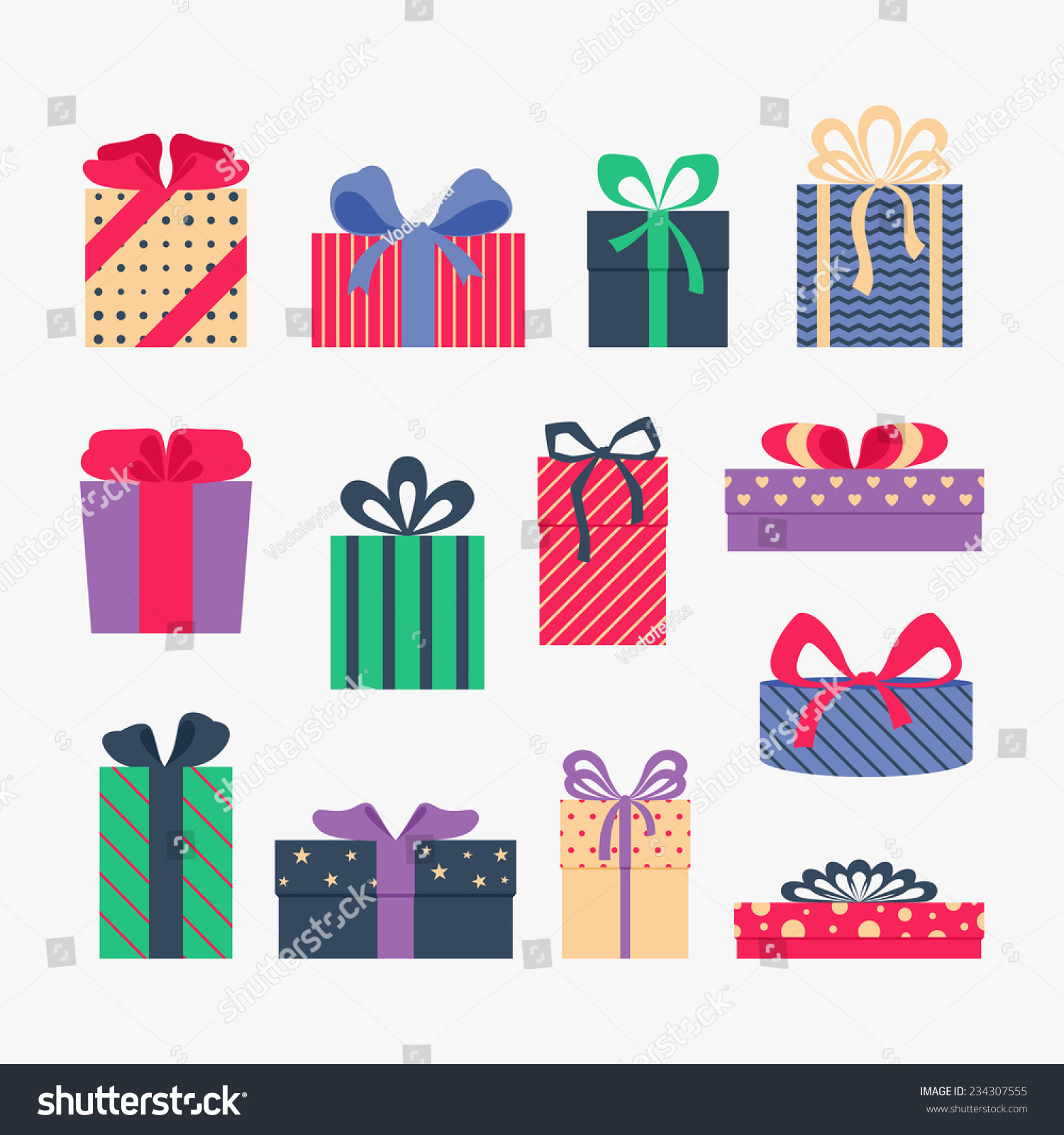 Set Cute Colorful Gift Boxes Isolated Stock Vector (Royalty Free ...