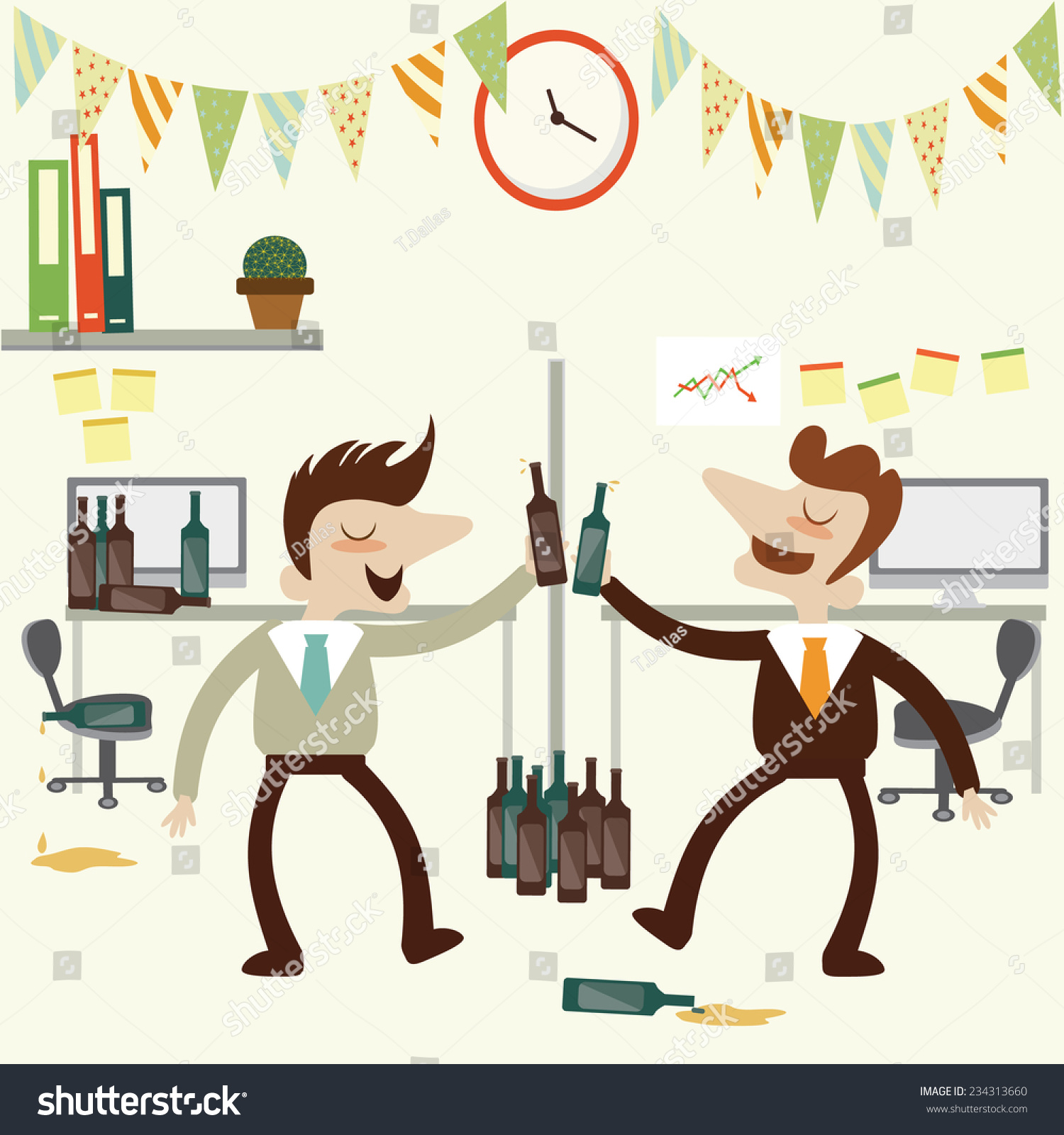 office party business man over drunk stock vector  office party business man over drunk vector cartoon design