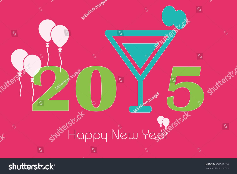 Happy New Year 2015 Greeting Large Stock Illustration 234319636