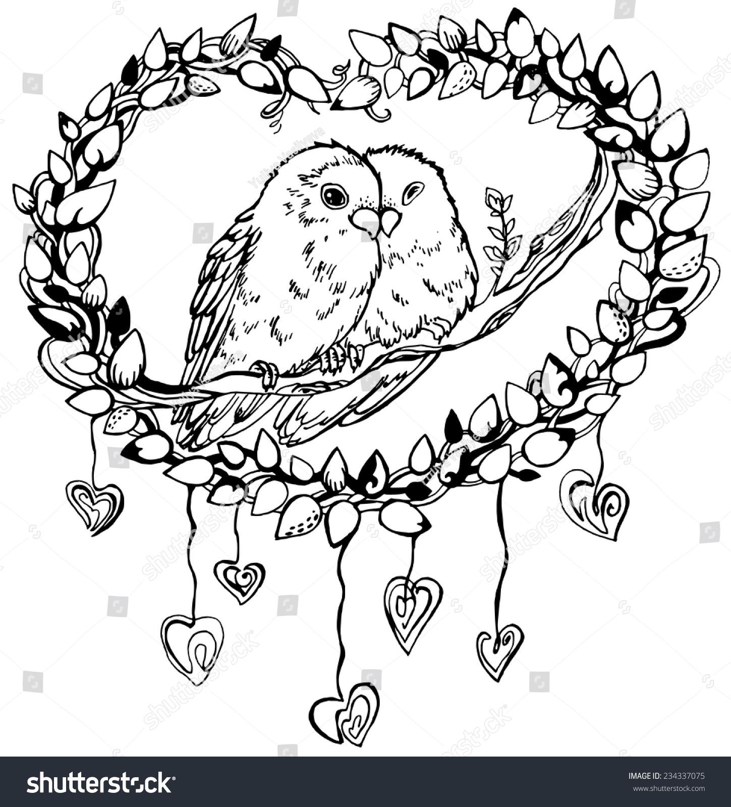 romantic image pair parrots lovebirds line stock vector 234337075