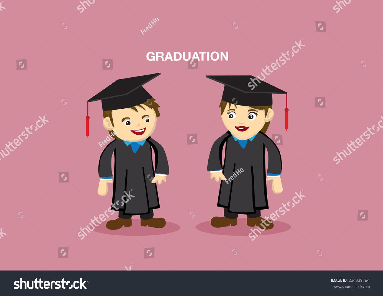 Man Woman Academic Gown Mortarboard Graduation Stock Vector (Royalty ...