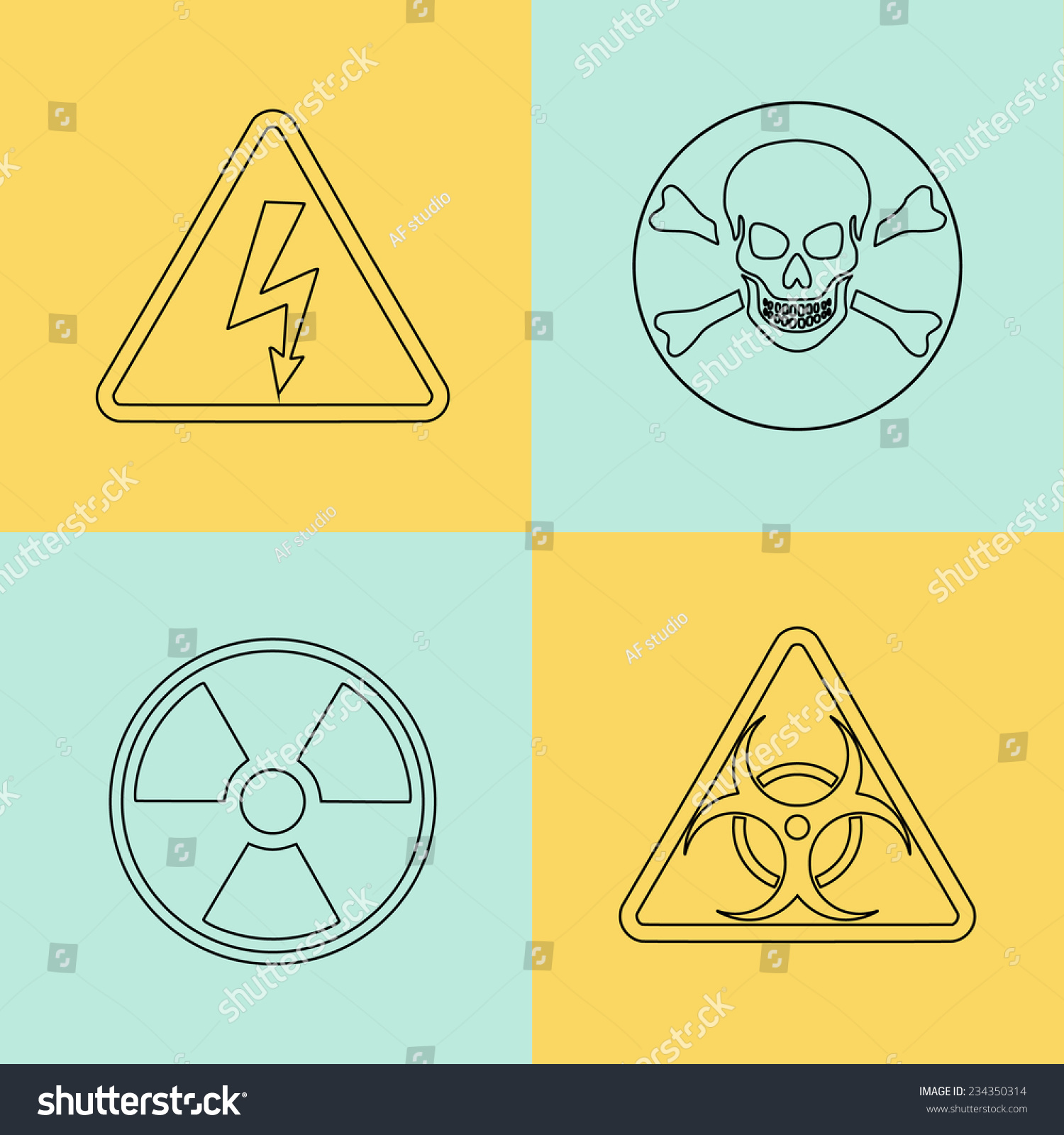 Flat thin line vector warning signs stock vector 234350314 flat thin line vector warning signs symbols danger poison skull crossbones biocorpaavc Image collections