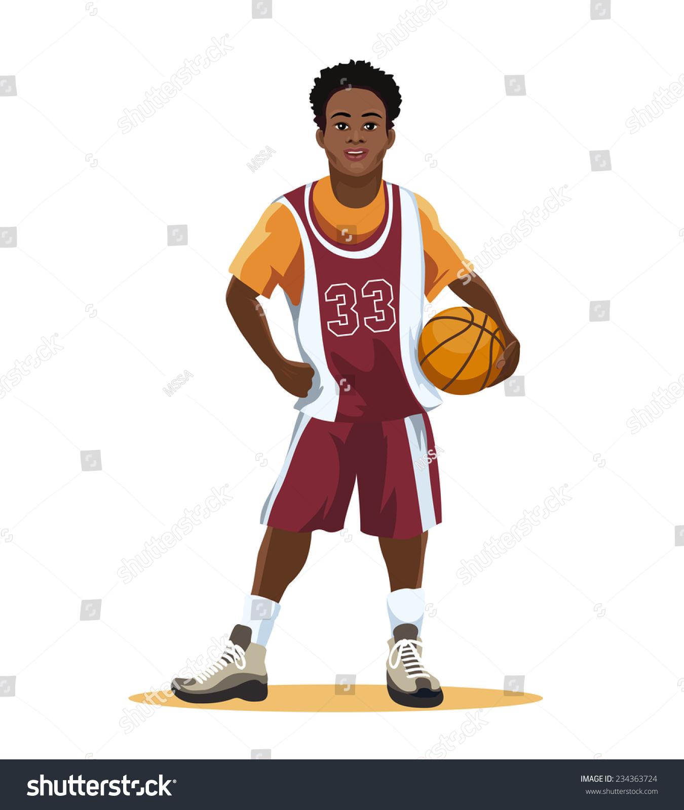 basketball player uniform ball hand isolated stock vector royalty