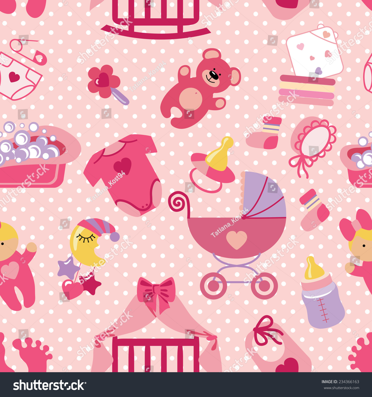 cute newborn seamless pattern for baby girl baby shower cartoon