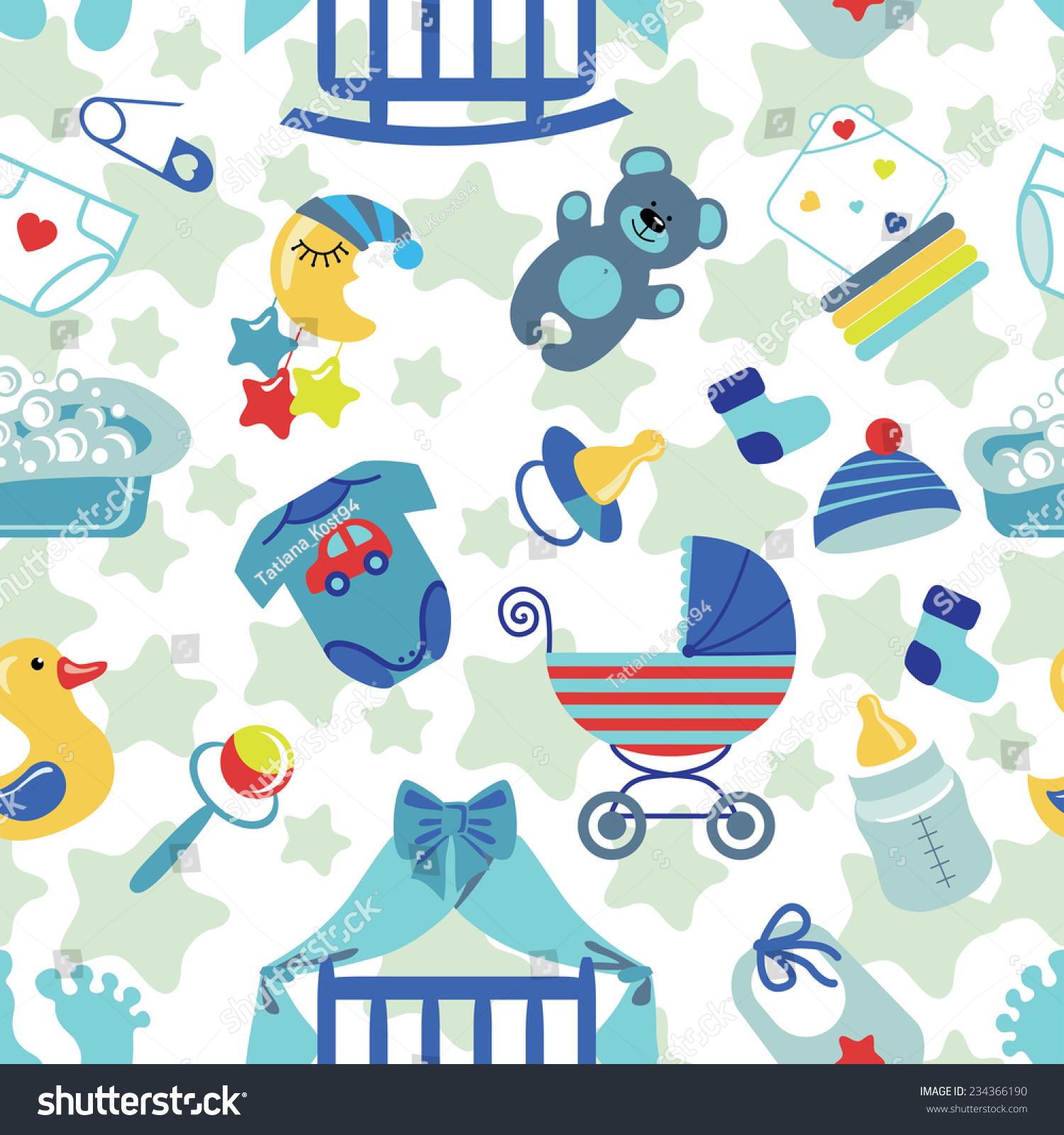 Cute Newborn Seamless Pattern Baby Boybaby Stock Vector Royalty Free 234366190