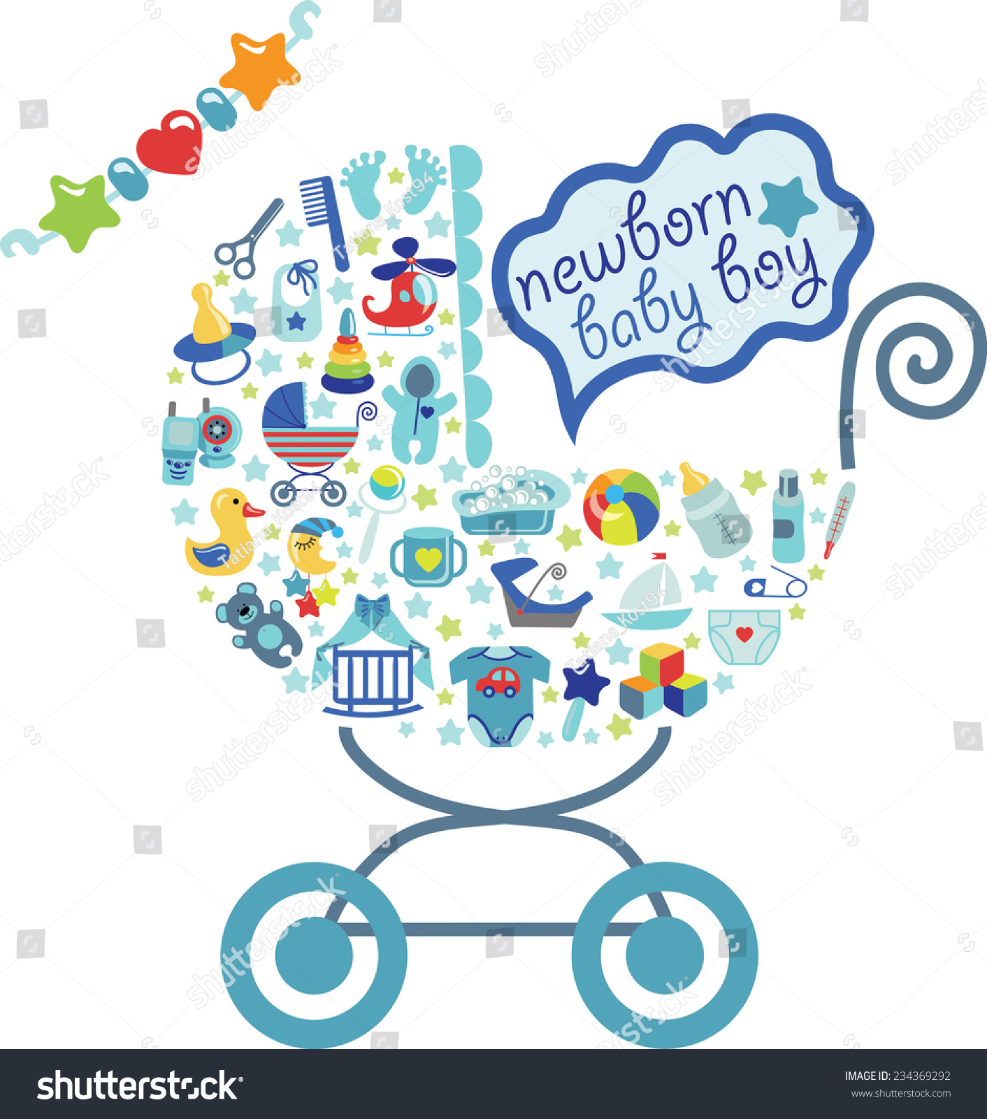 Cute Newborn Icons Set Baby Boycomposition Stock Vector 234369292 Shutterstock