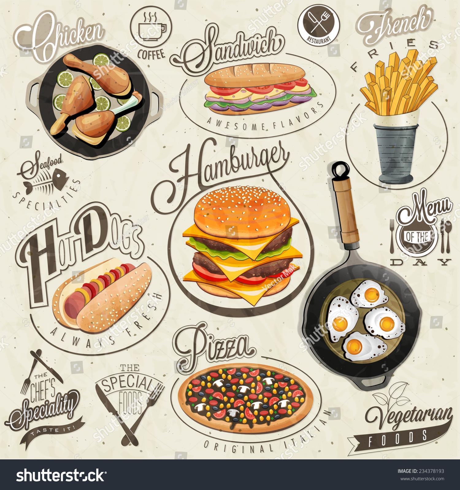 Royalty Free Retro Vintage Style Fast Food Designs 234378193