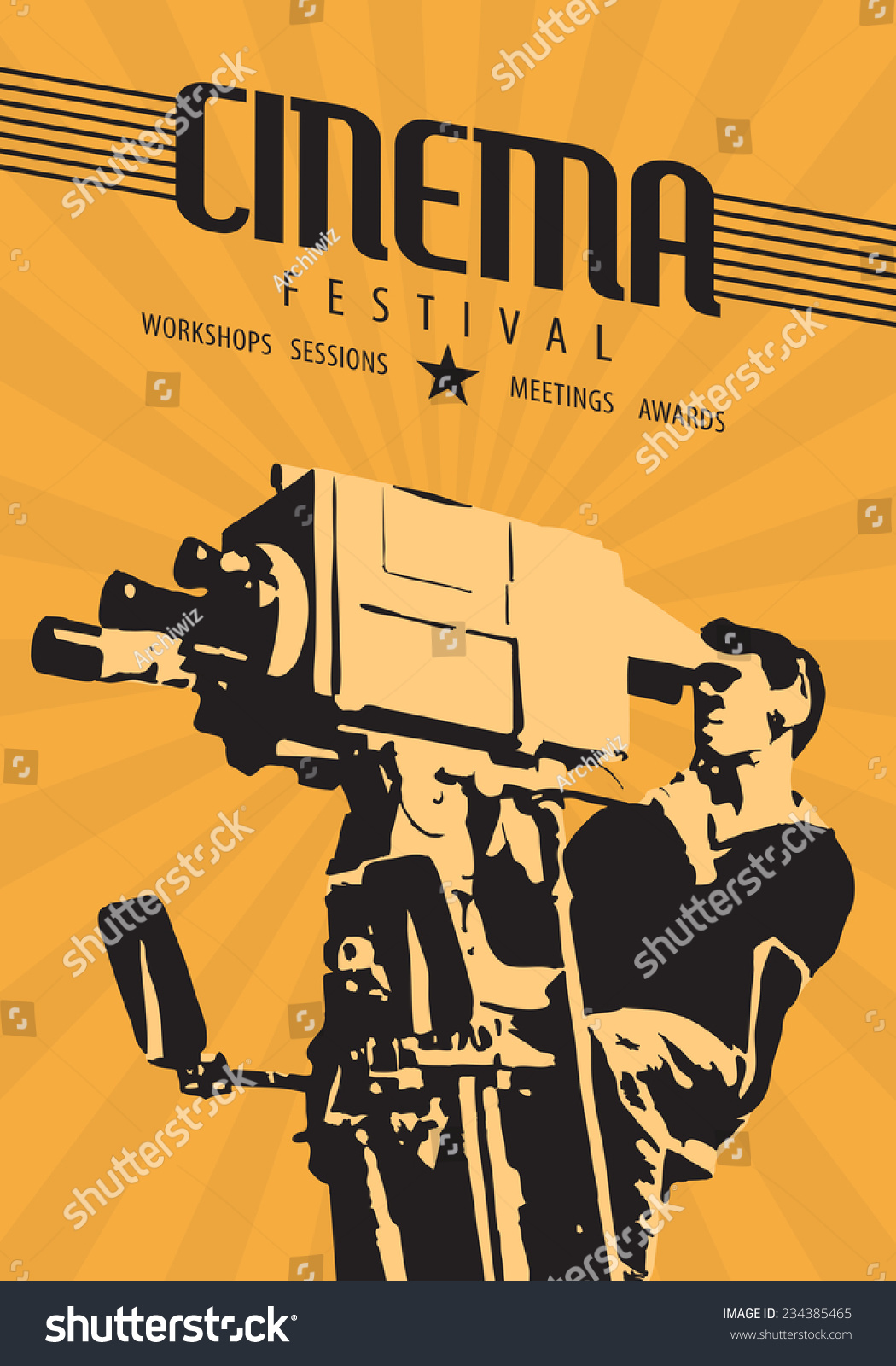 cinema film festival poster template vector のベクター画像素材