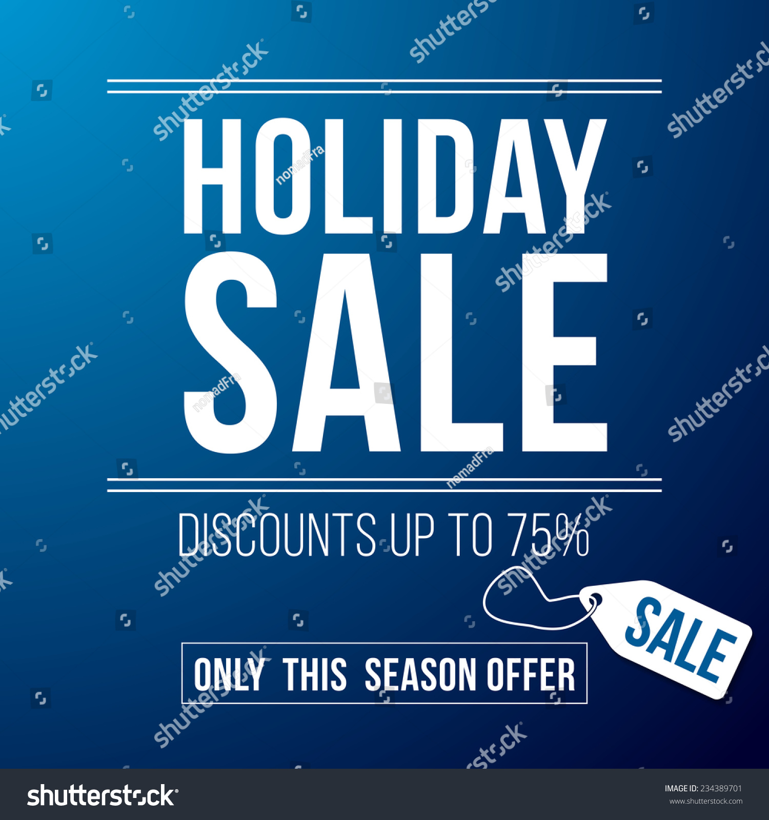 Holiday Sale Ad Designed In A Modern Flat Style On Blue Background