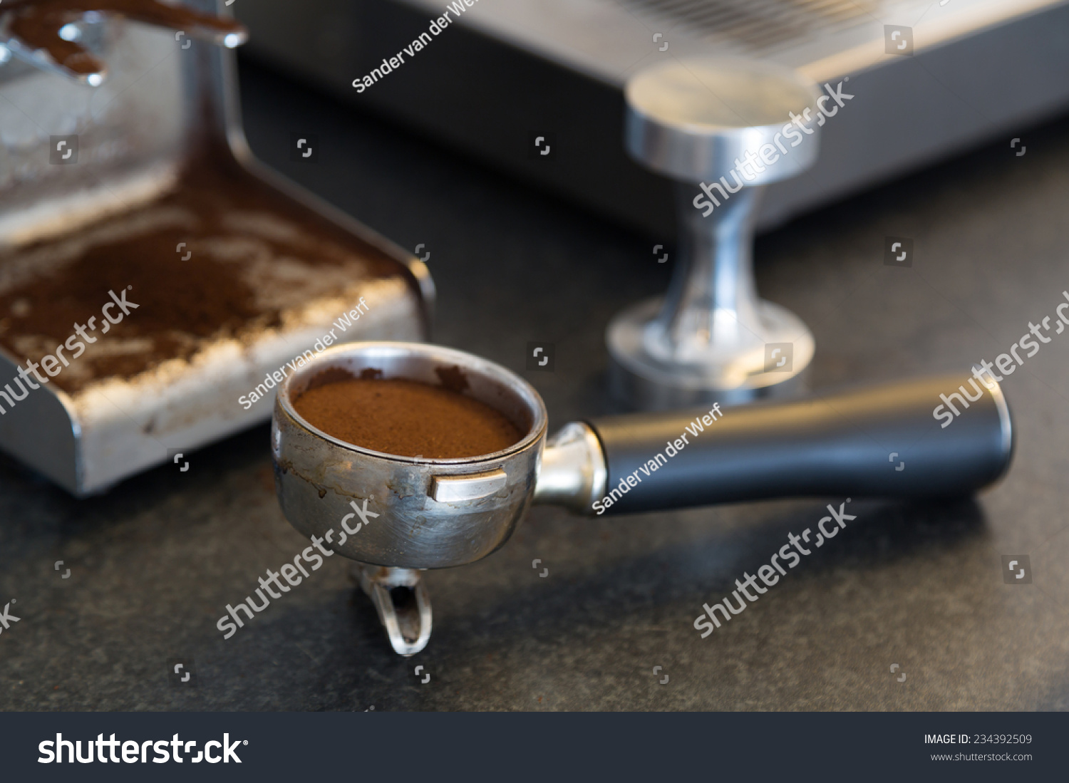 espresso bayonet called piston portafilter tamper stock photo 234392509 shutterstock. Black Bedroom Furniture Sets. Home Design Ideas