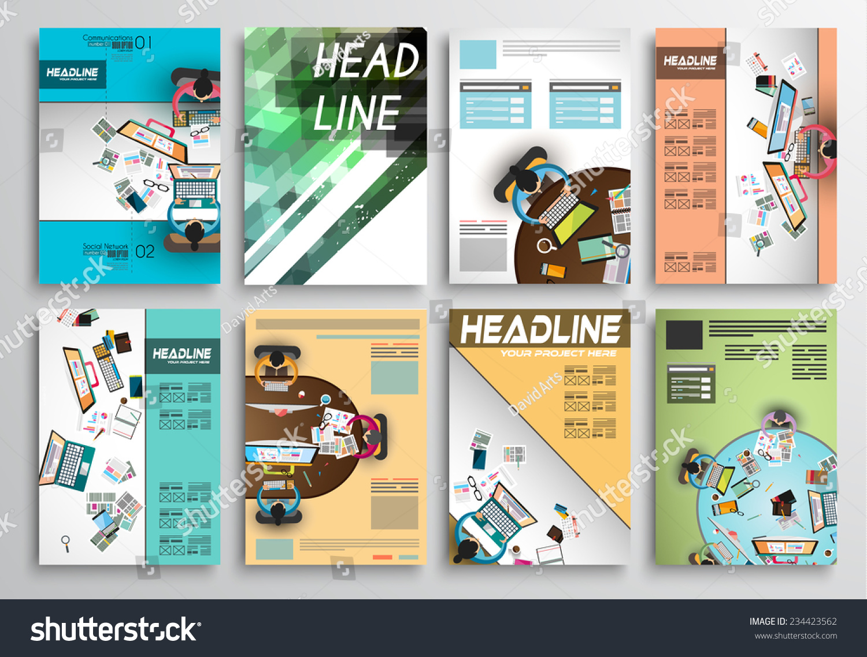 Set Flyer Design Web Templates Brochure Stock Illustration - Brochure website templates