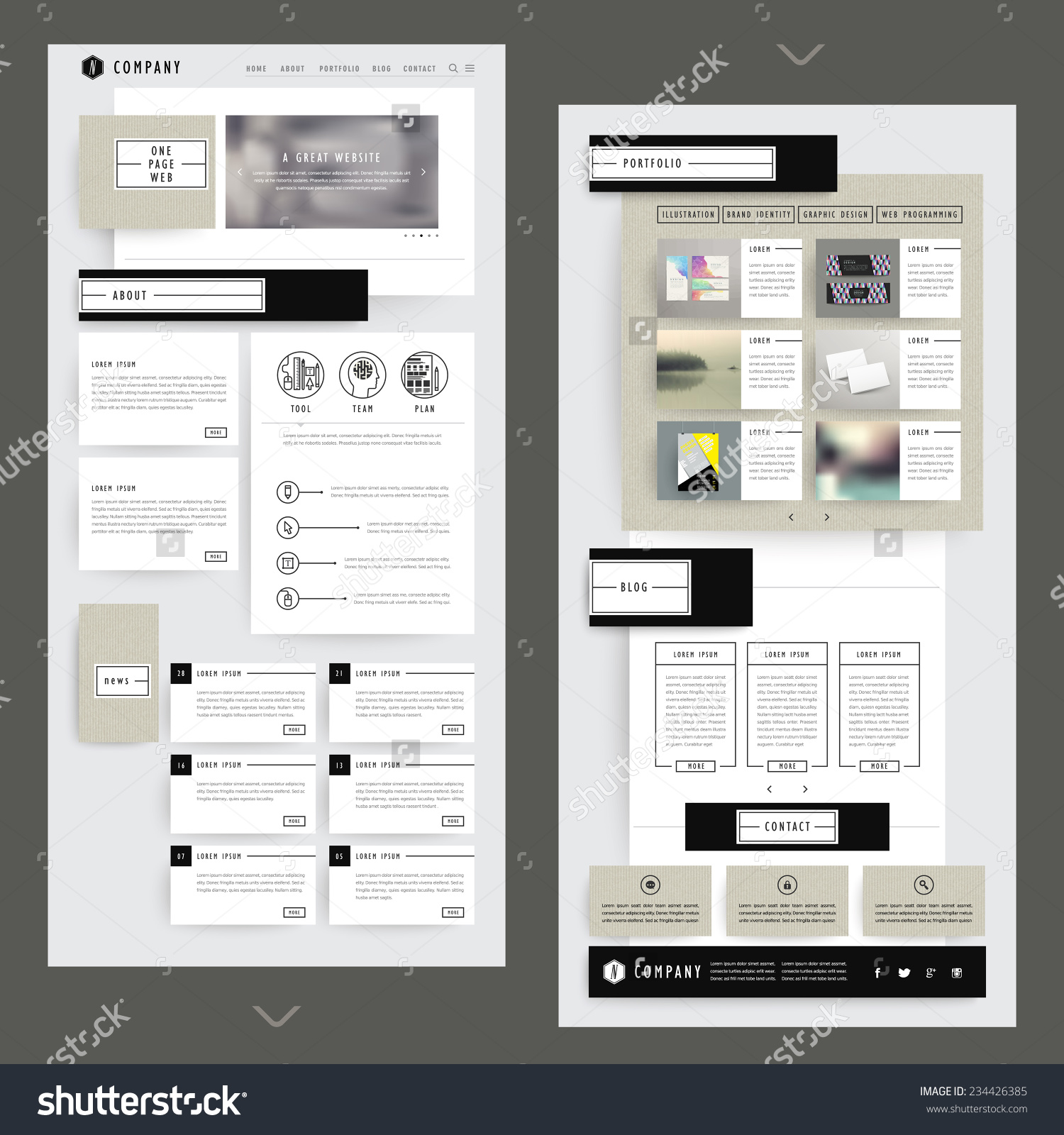 Stock Vector Collage One Page Website Template Design