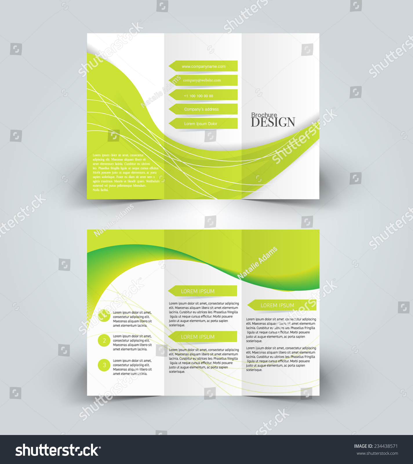 Trifold business brochure leaflet template white stock for Background brochure templates