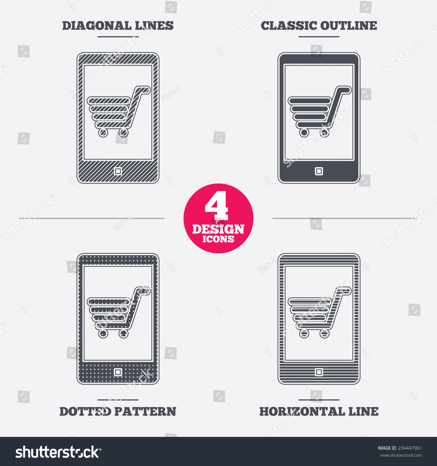 Smartphone Shopping Cart Sign Icon Online Stock Vector 234447961