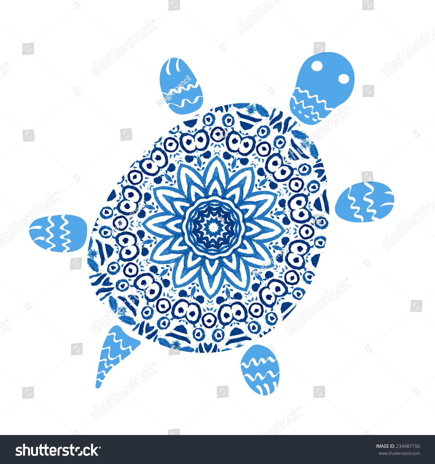 Free ornamental mandala vector download free vector art stock - Turtle Mandala Pattern Watercolor Vector Blue Stock Vector
