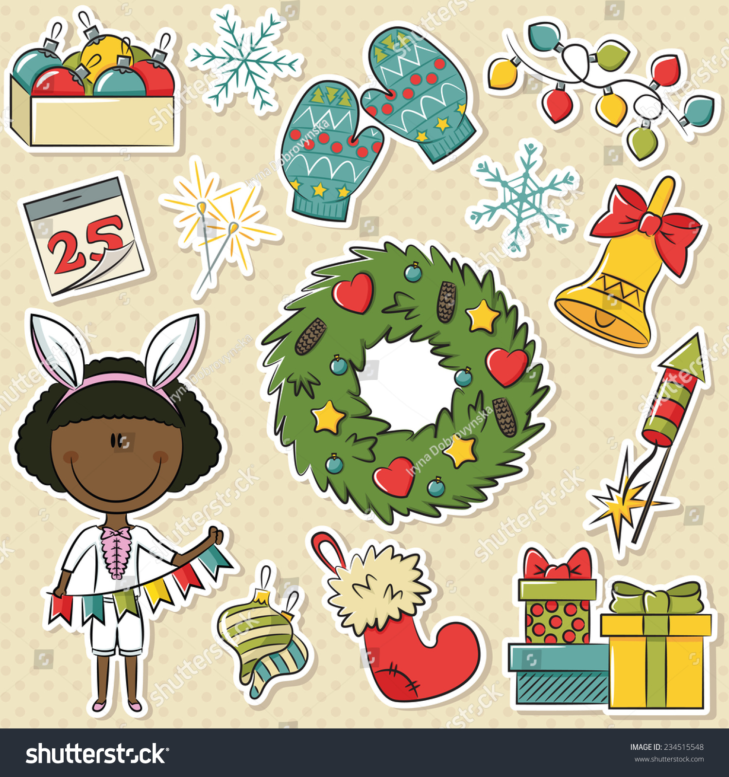 Cute African American Girl Christmas Gifts Decorations Stock Vector ...