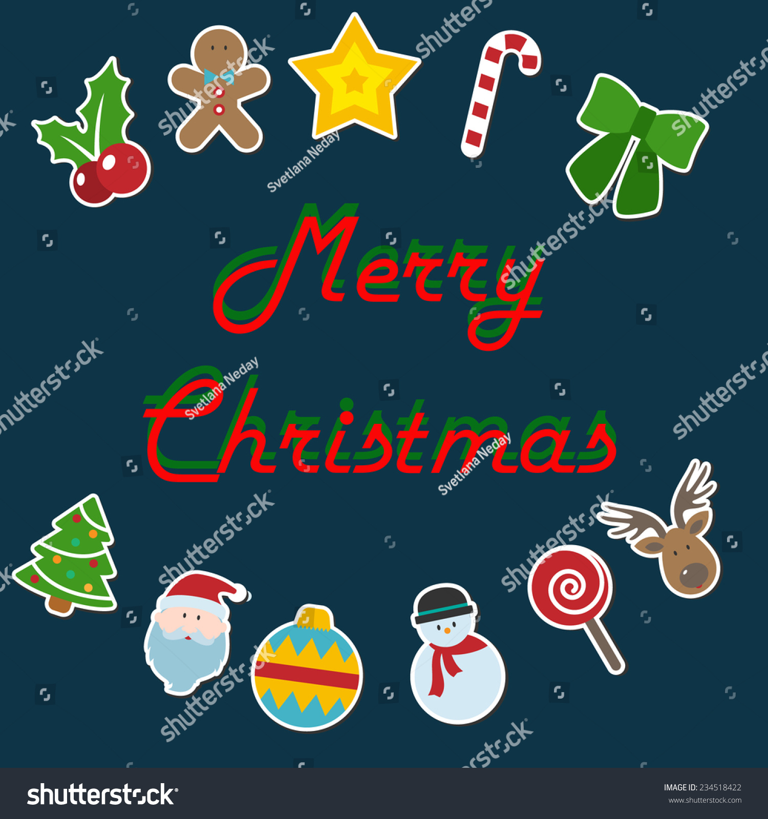 Greeting card christmas card santa claus stock vector 234518422 greeting card christmas card with santa claus deer and other christmas characters kristyandbryce Choice Image