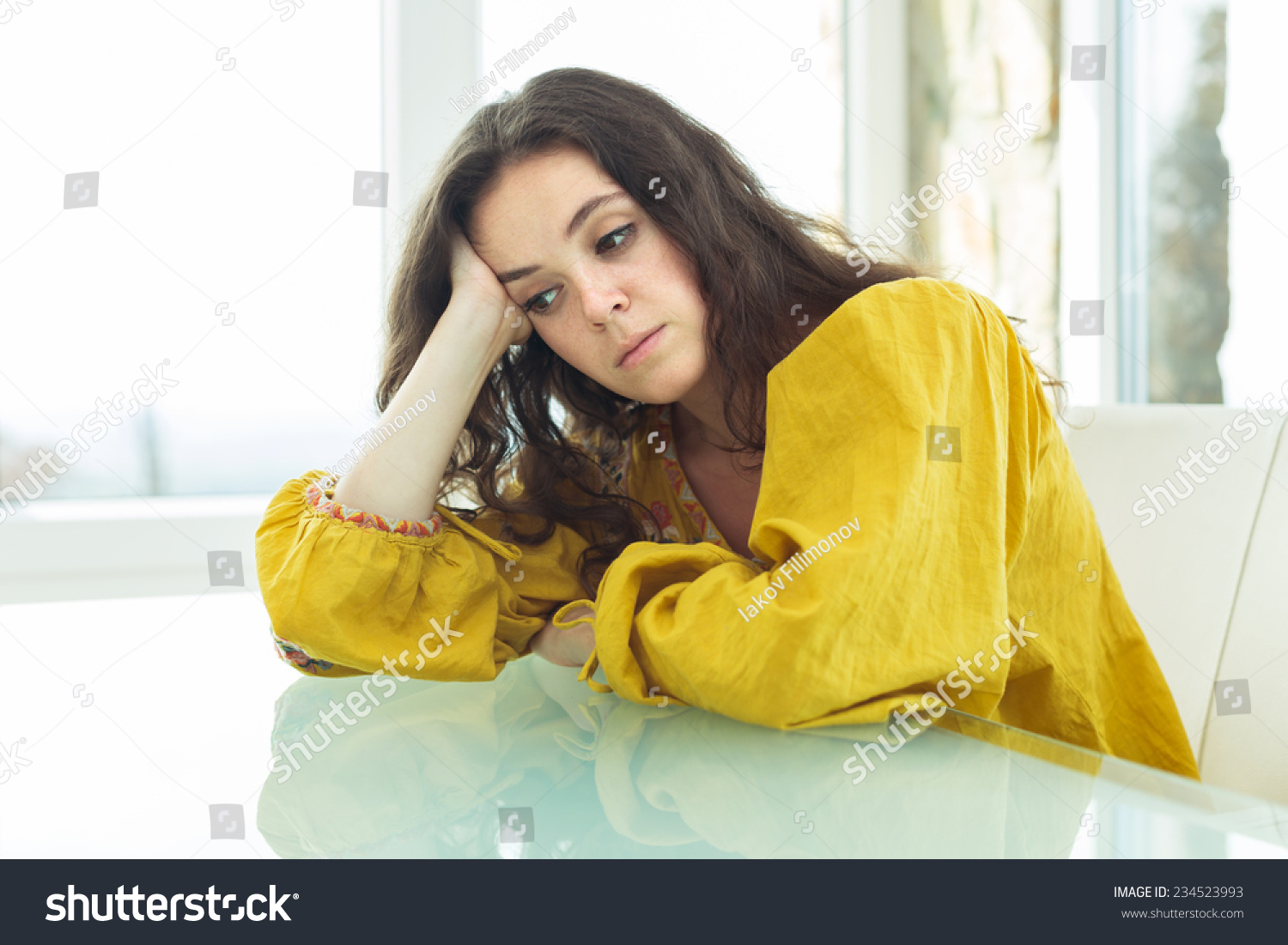 Young Woman Bright Blouse Bored Home Stock Photo (Royalty Free ...