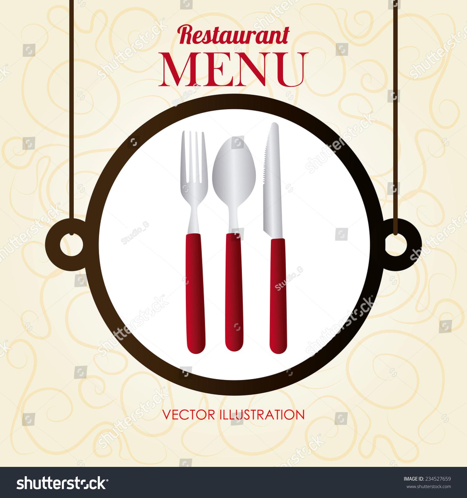 restaurant design over beige background vector stock vector