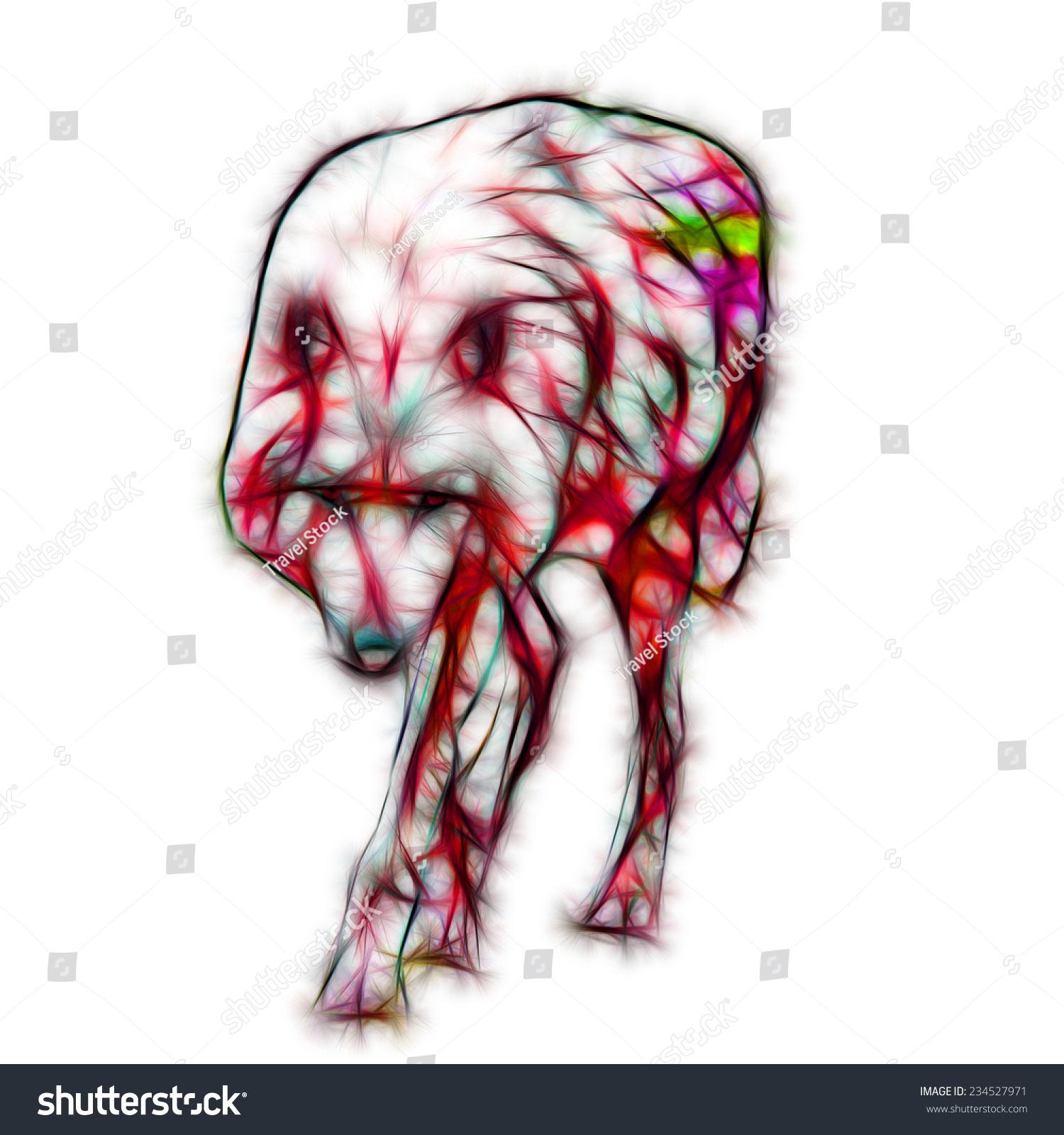 Fractal Illustration Arctic Wolf Stock Illustration 234527971