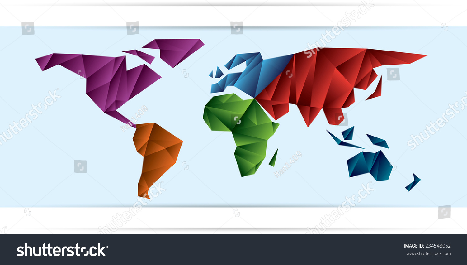 World map frozen triangles continents different stock vector world map frozen triangles of continents different color gumiabroncs Gallery