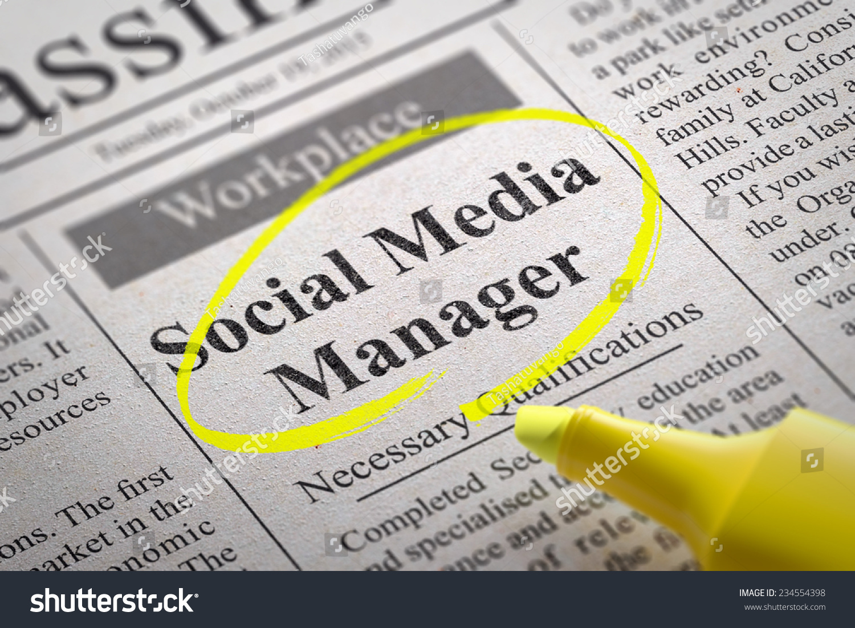 social media manager jobs in newspaper job seeking. Black Bedroom Furniture Sets. Home Design Ideas