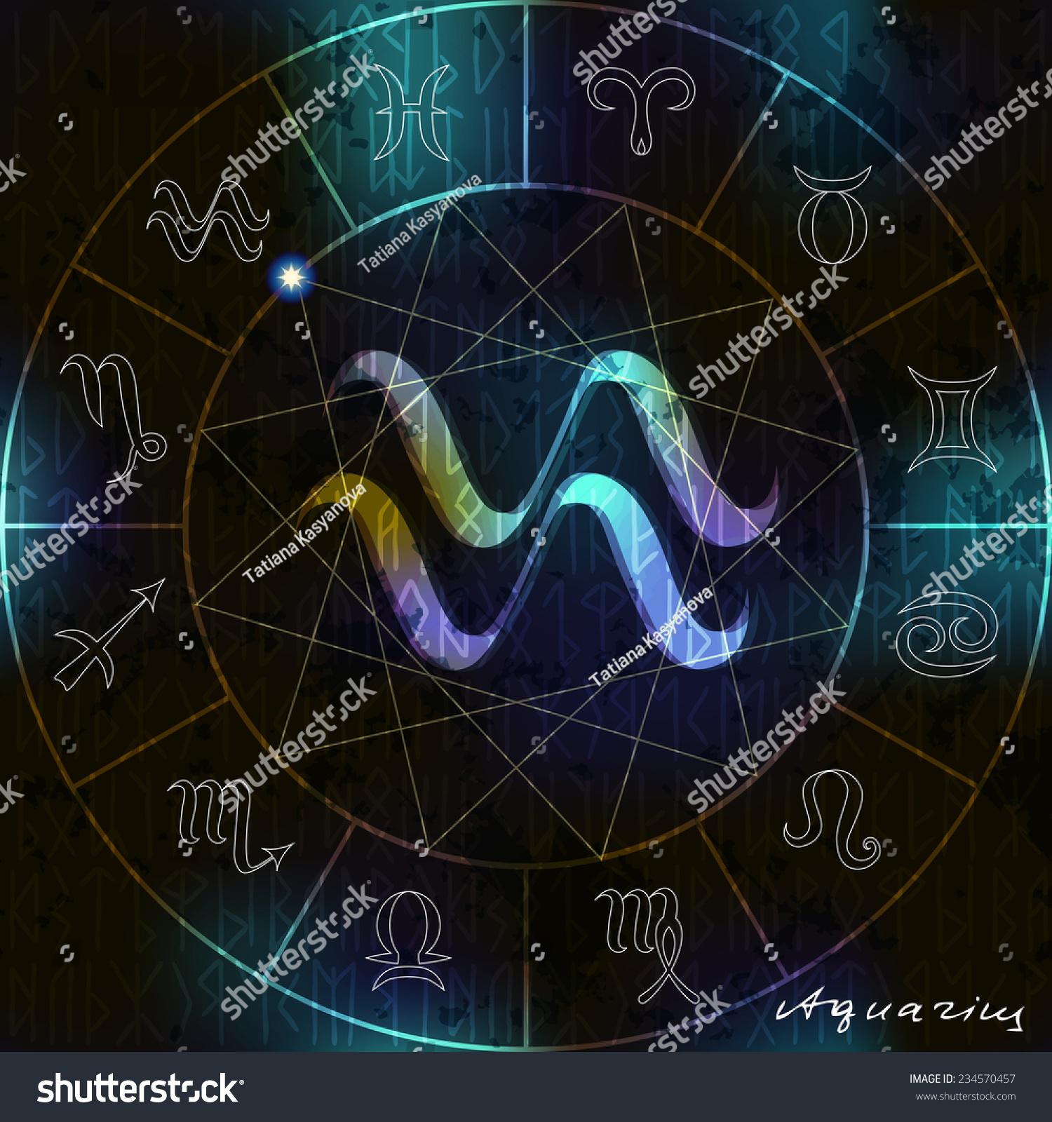 Magic Circle Astrological Aquarius Symbol Center Stock Vector